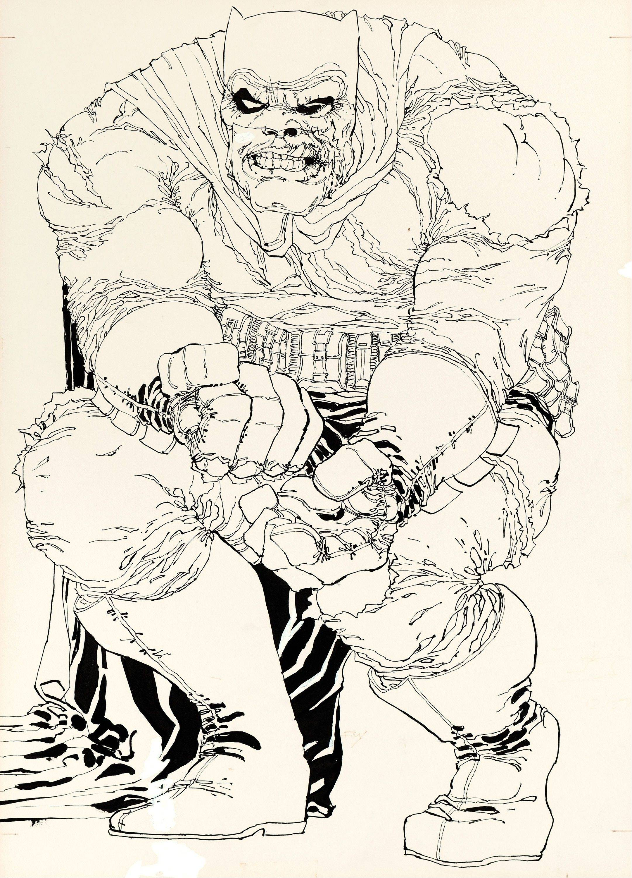 "This image shows the original art drawn by writer/artist Frank Miller for the cover to ""The Dark Knight Returns"" No. 2, which is planned to be sold at auction in August 2013. It's the first cover from DC Comics' 1986 four-issue ""Dark Knight"" miniseries to be sold and is expected to go for more than $500,000."