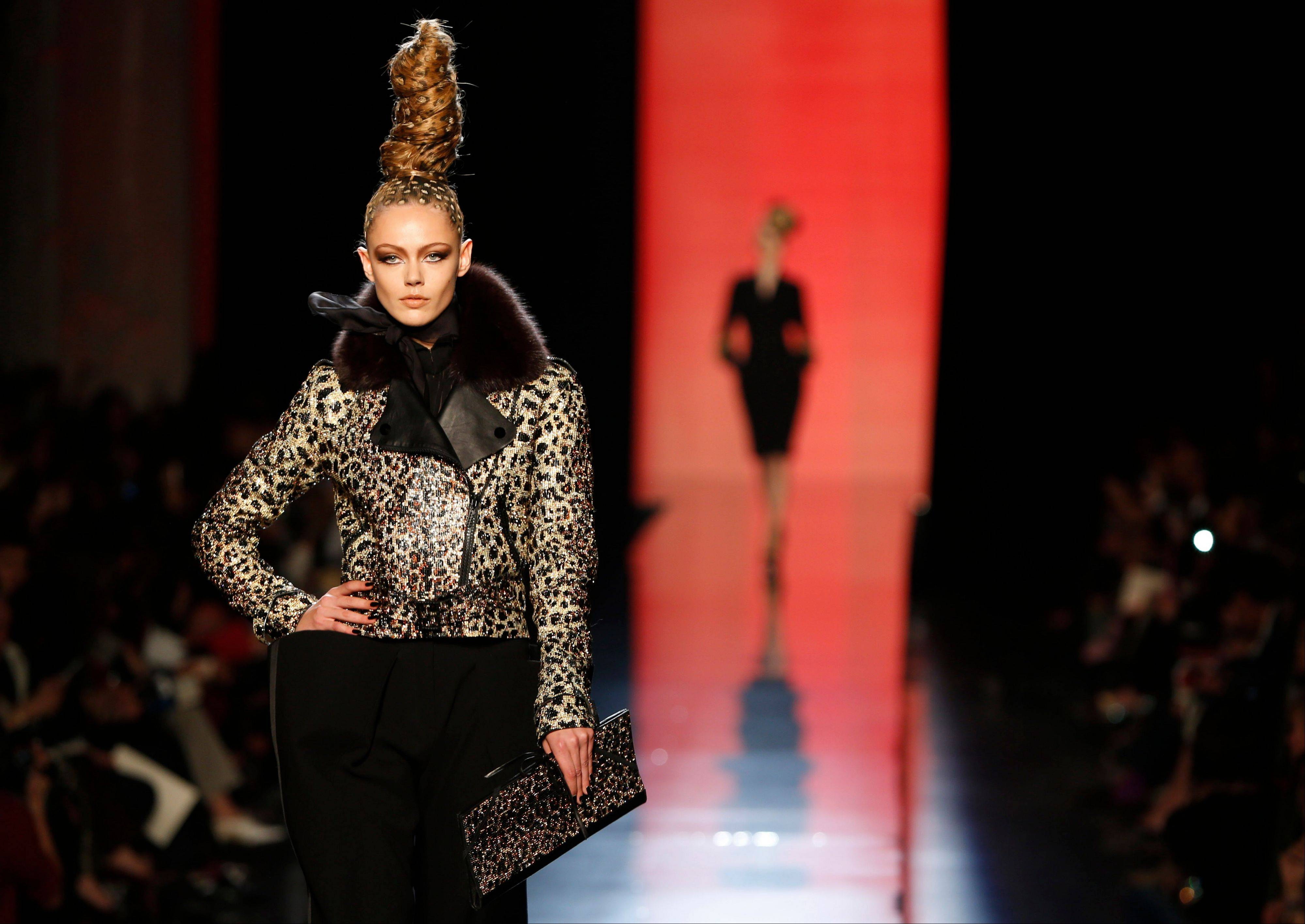 A model wears a creation for Jean-Paul Gaultier's Haute Couture Fall-Winter 2013-2014 collection.
