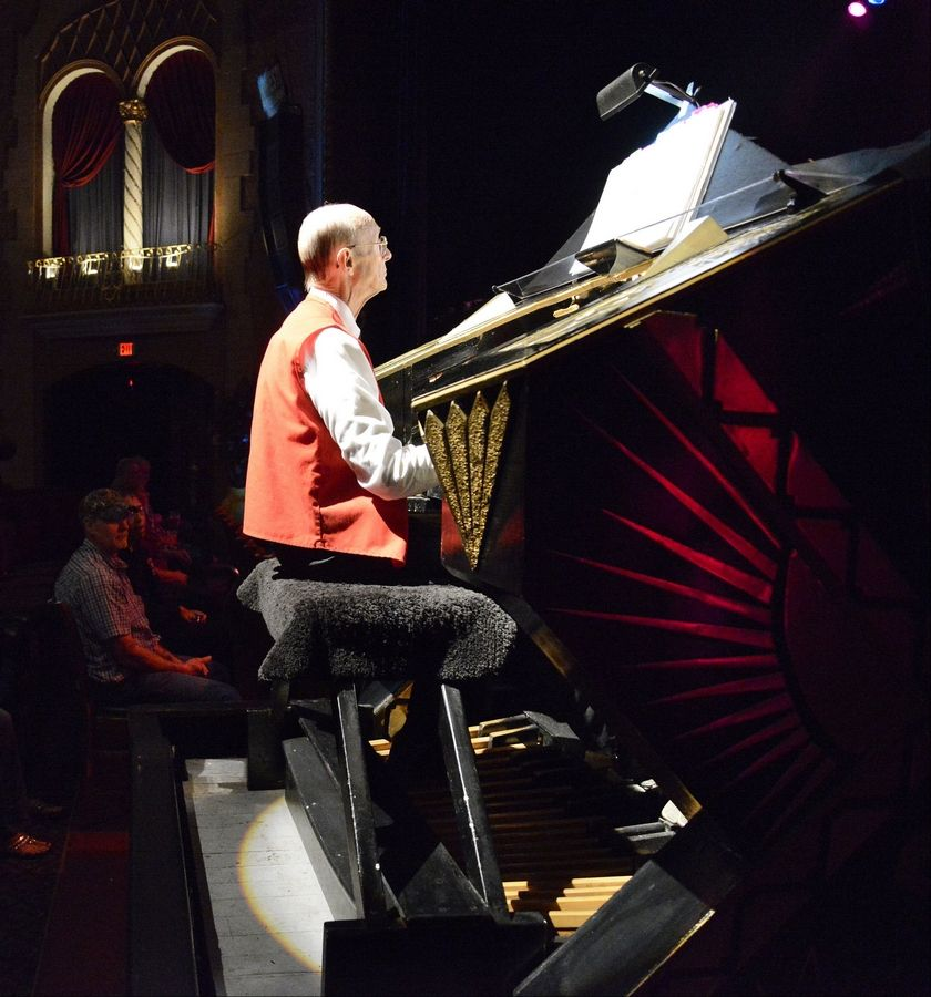 Pipe organist Jim Shaffer performs before a recent rock concert at the Arcada Theatre. Shaffer has been working on organs for more than 30 years and started playing about three years ago.