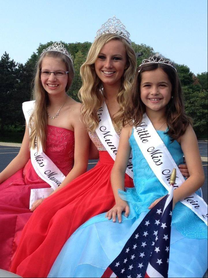 Junior Miss Mundelein Kimberly Barr, left, Miss Mundelein Brigitte Lyman and Little Miss Mundelein Kyra Ryba pose after being crowned this week as part of Mundelein's Community Days festivities.