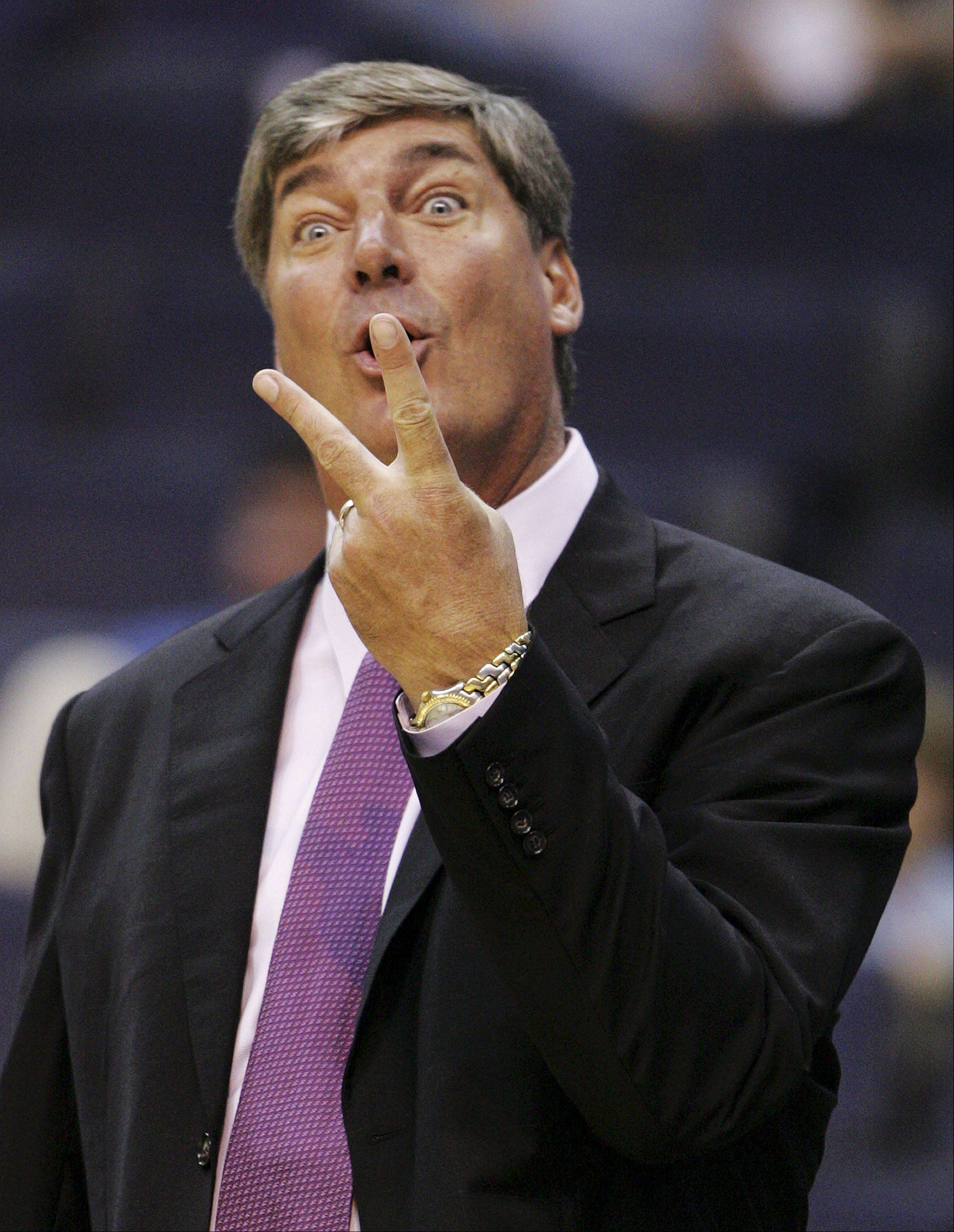 Detroit Shock's head coach Bill Laimbeer reacts after his team was assessed separate technical fouls during the first quarter of a WNBA basketball game against the Washington Mystics, Friday, July 18, 2008, in Washington.