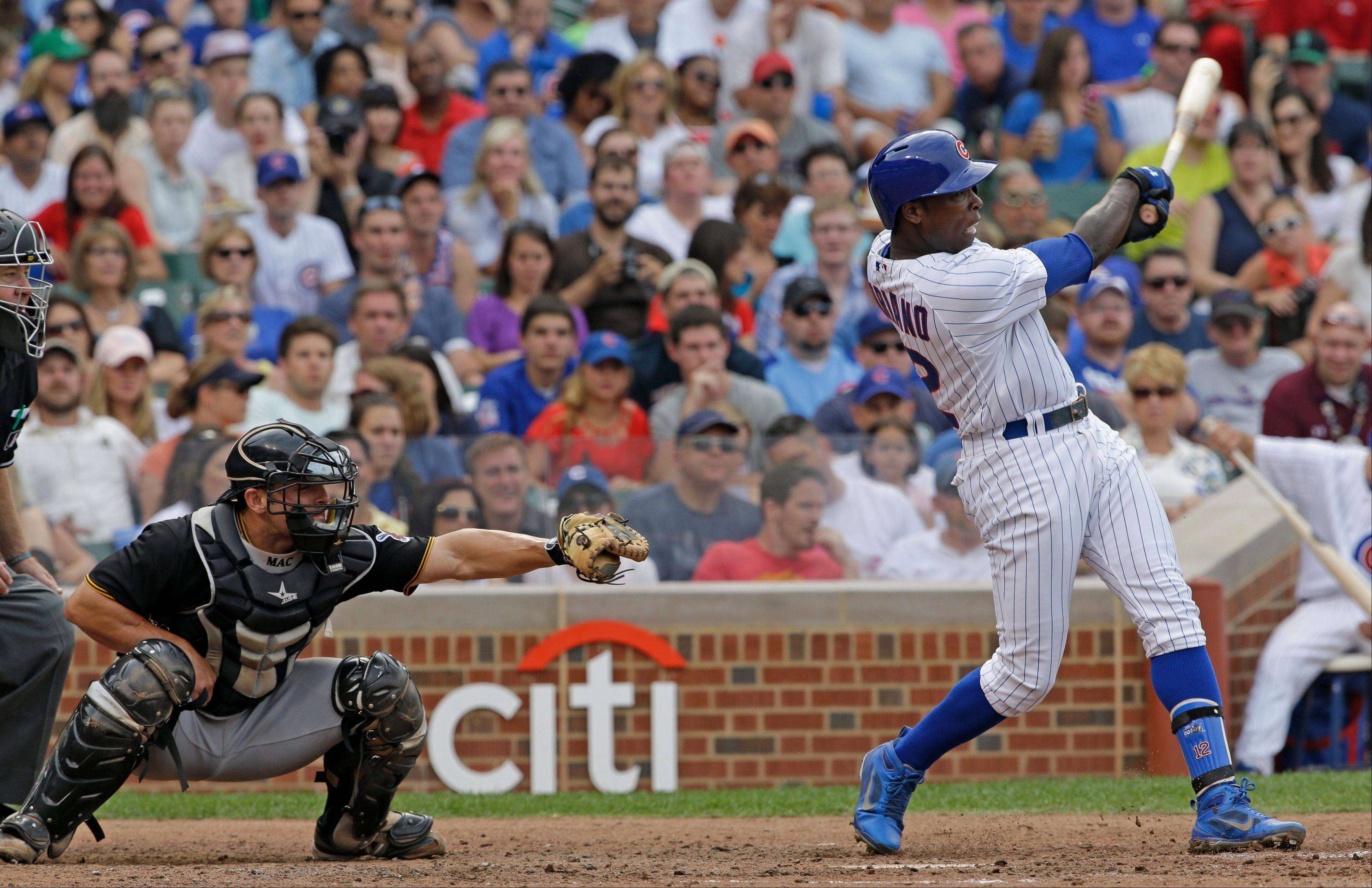 The Cubs� Alfonso Soriano hits the second of his 2-run homers in Saturday�s victory over the Pirates at Wrigley Field.
