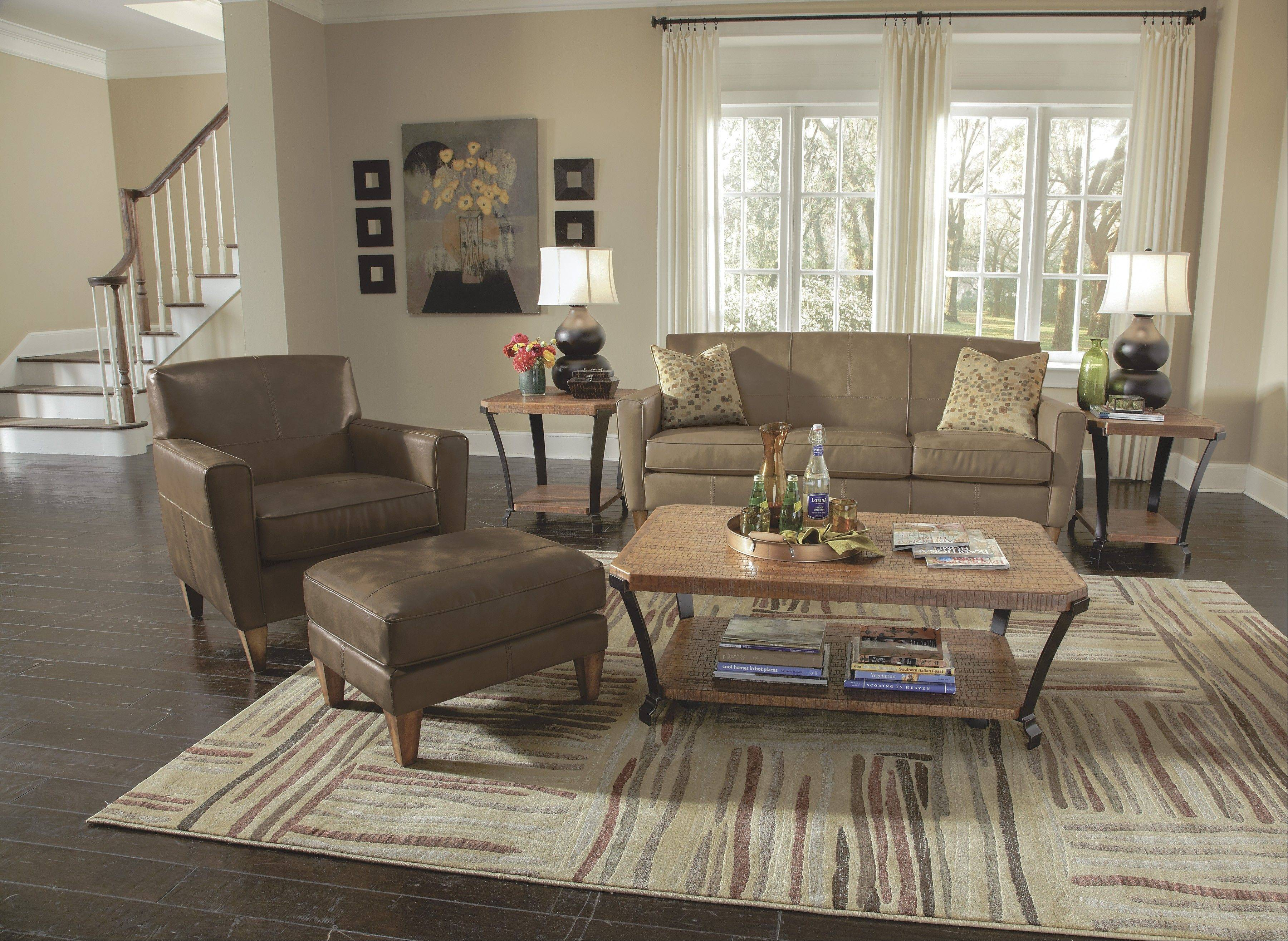 Transitional furniture is less formal and has a more contemporary look to it, but is constructed of traditional materials.
