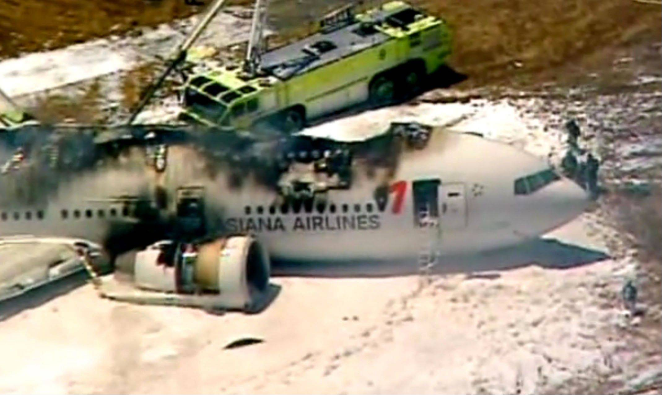 This frame grab from video provided by KTVU shows smoke rising from an Asiana Airlines flight that crashed while landing at San Francisco Airport on Saturday, July 6, 2013. It was not immediately known whether there were any injuries.