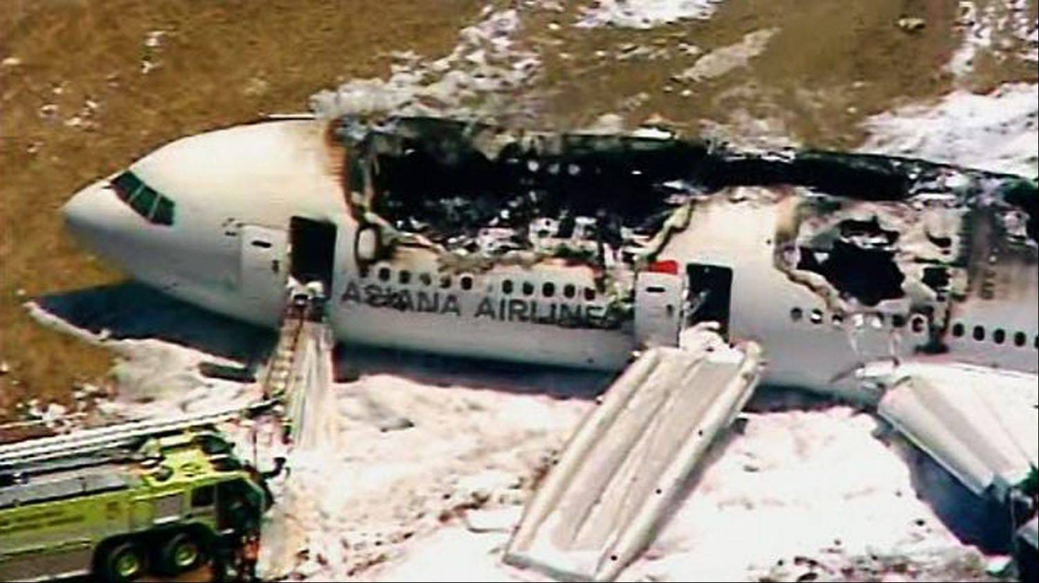 This frame grab from video provided by KTVU shows the scene after an Asiana Airlines flight crashed while landing at San Francisco Airport on Saturday, July 6, 2013, in San Francisco.