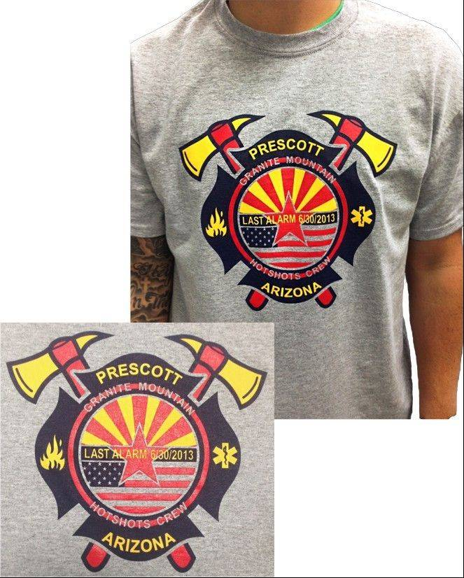This is the front of the T-shirt being sold as part of a fundraiser to benefit the families of the 19 firefighters killed on June 30.