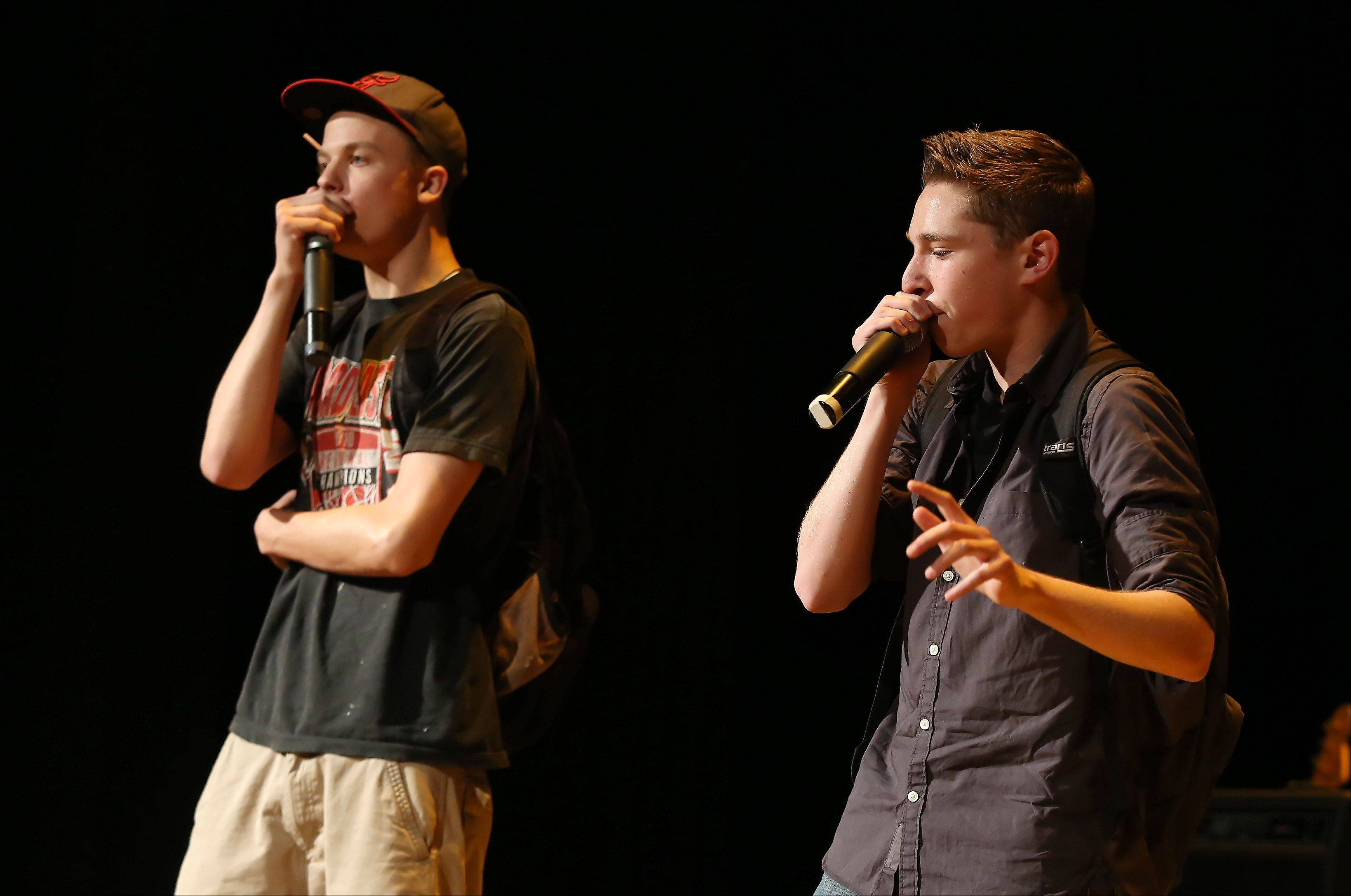 Luke Young, left, and Ronnie Greco of Chinese Take Out perform beatboxing Sunday during the second round of performances by finalists of the Suburban Chicago's Got Talent competition at the Metropolis Performing Arts Centre in Arlington Heights. The summer long talent contest is presented by the Daily Herald and sponsored by the Arlington Heights Chamber of Commerce.