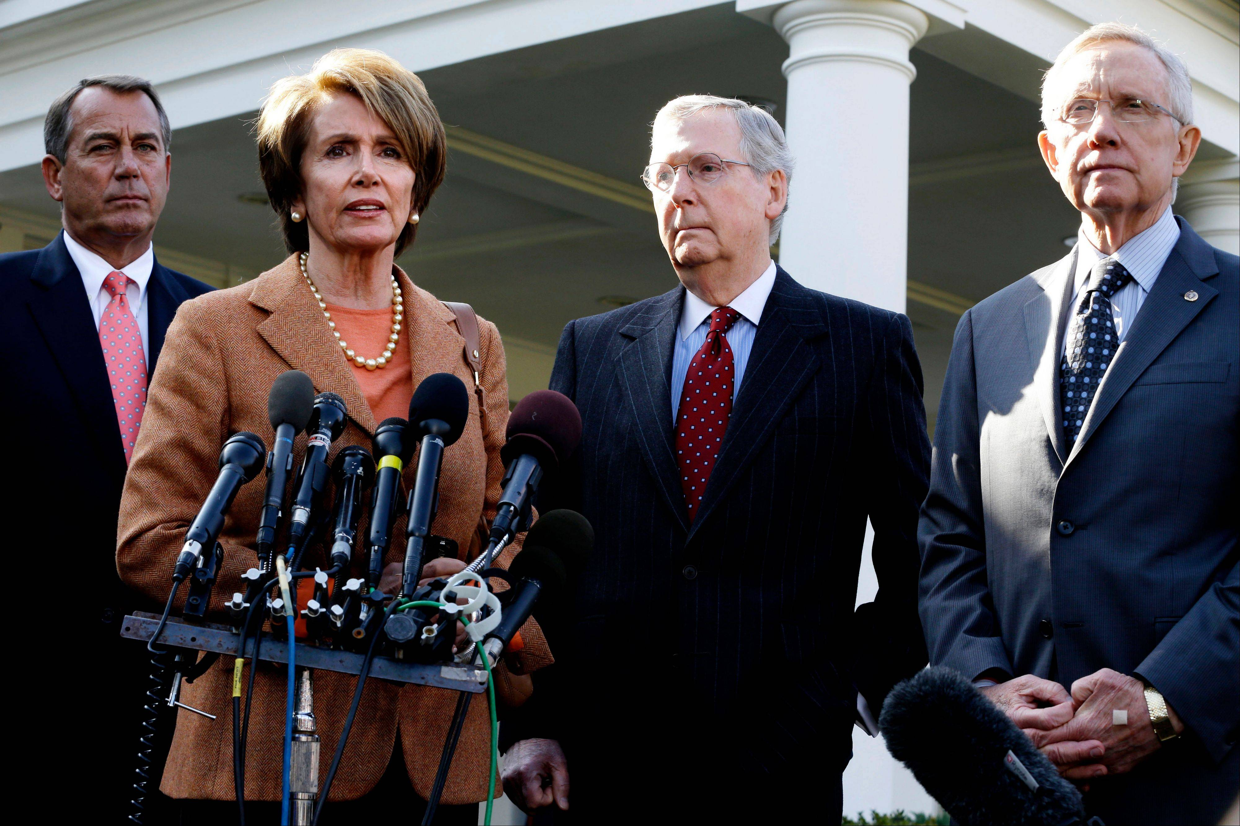 House Minority Leader Nancy Pelosi, second from left, House Speaker John Boehner, Senate Minority Leader Mitch McConnell and Senate Majority Leader Harry Reid are seen last November. Congress reconvenes this week.