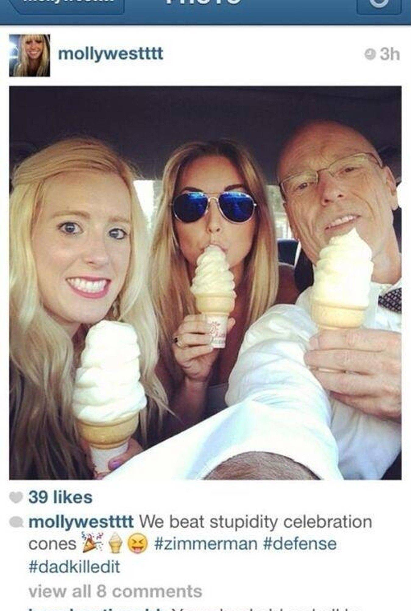 In this undated photo posted on Instagram, George Zimmerman defense attorney Don West, right, eats ice cream with his daughters. Prosecutors have asked a judge in the George Zimmerman trial to conduct an inquiry into the photo, but the lawyer said Tuesday it was unrelated to testimony in the case.