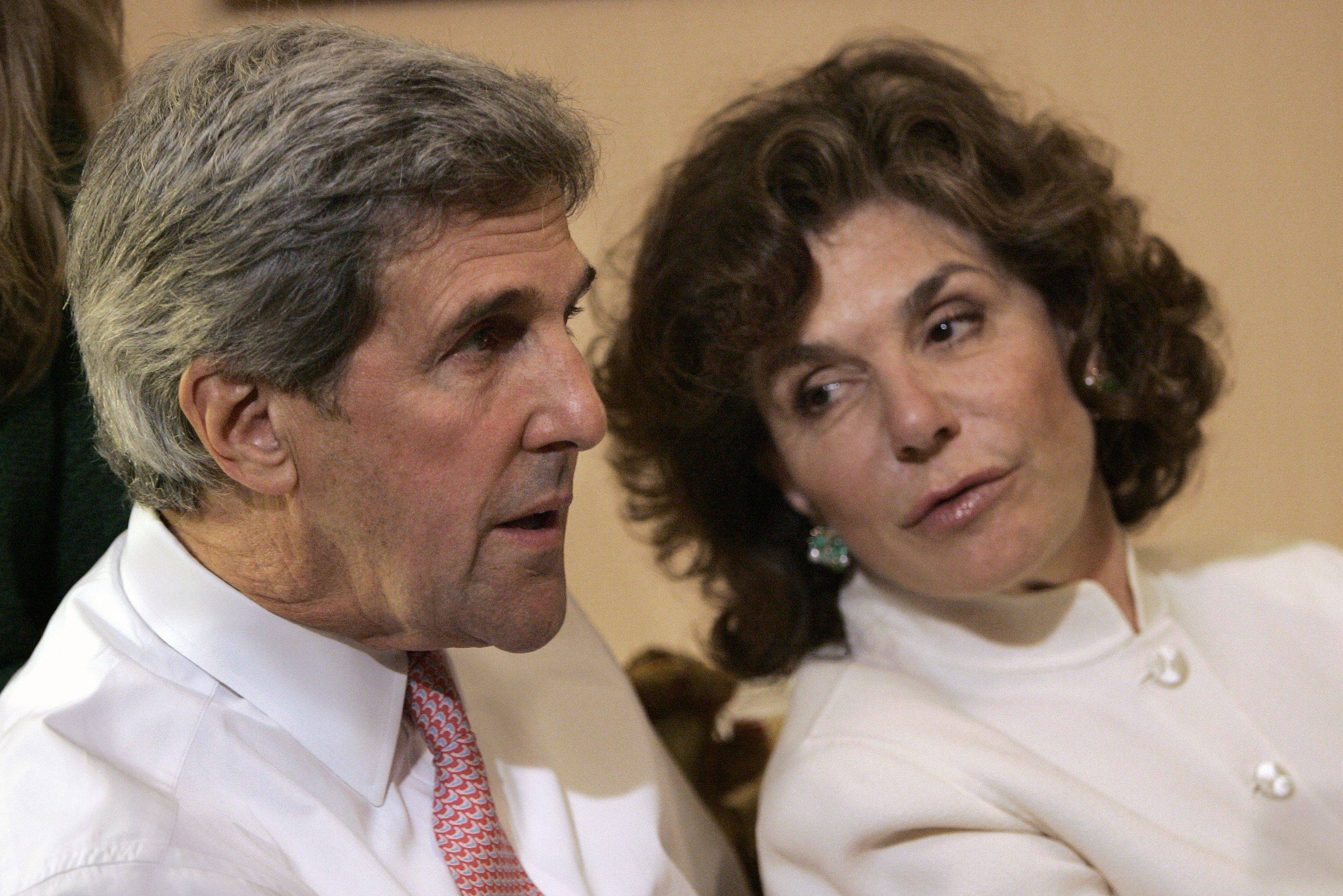 John Kerry is seen with his wife, Teresa Heinz Kerry, in 2008. Teresa Heinz Kerry was hospitalized Sunday in critical but stable condition.