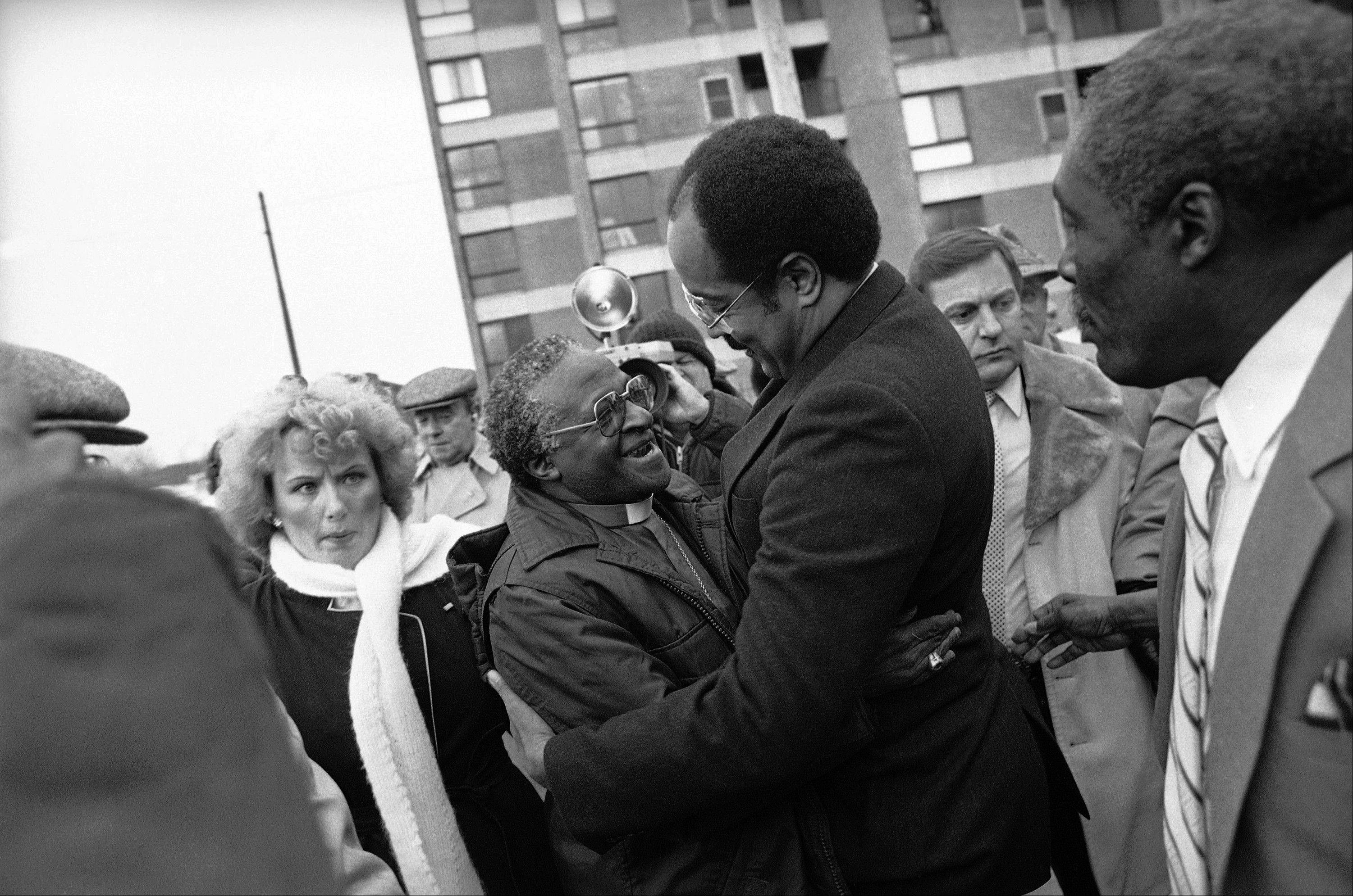 In this Jan. 14, 1986, file photo, Bishop Desmond Tutu, left, is greeted by Rep. William H. Gray III, who just returned from a trip to South Africa, outside Philadelphia's Bright Hope Baptist Church. Gray, who rose to influential positions in Congress while remaining pastor of his north Philadelphia church for 3½ decades, has died, a family spokesman said Monday, July 1. He was 71.