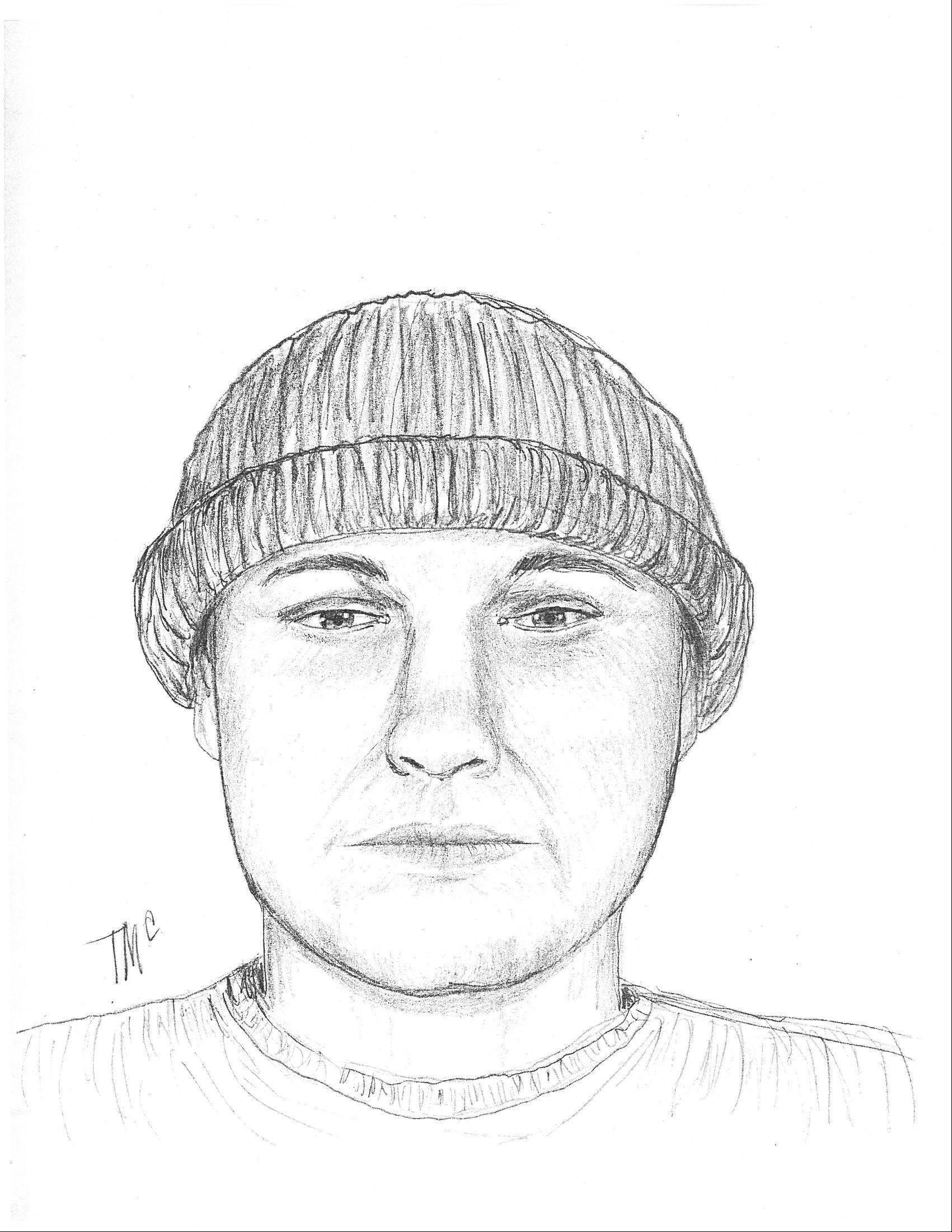Inverness police released this sketch of a man suspected of shooting a village resident during a break-in last month.