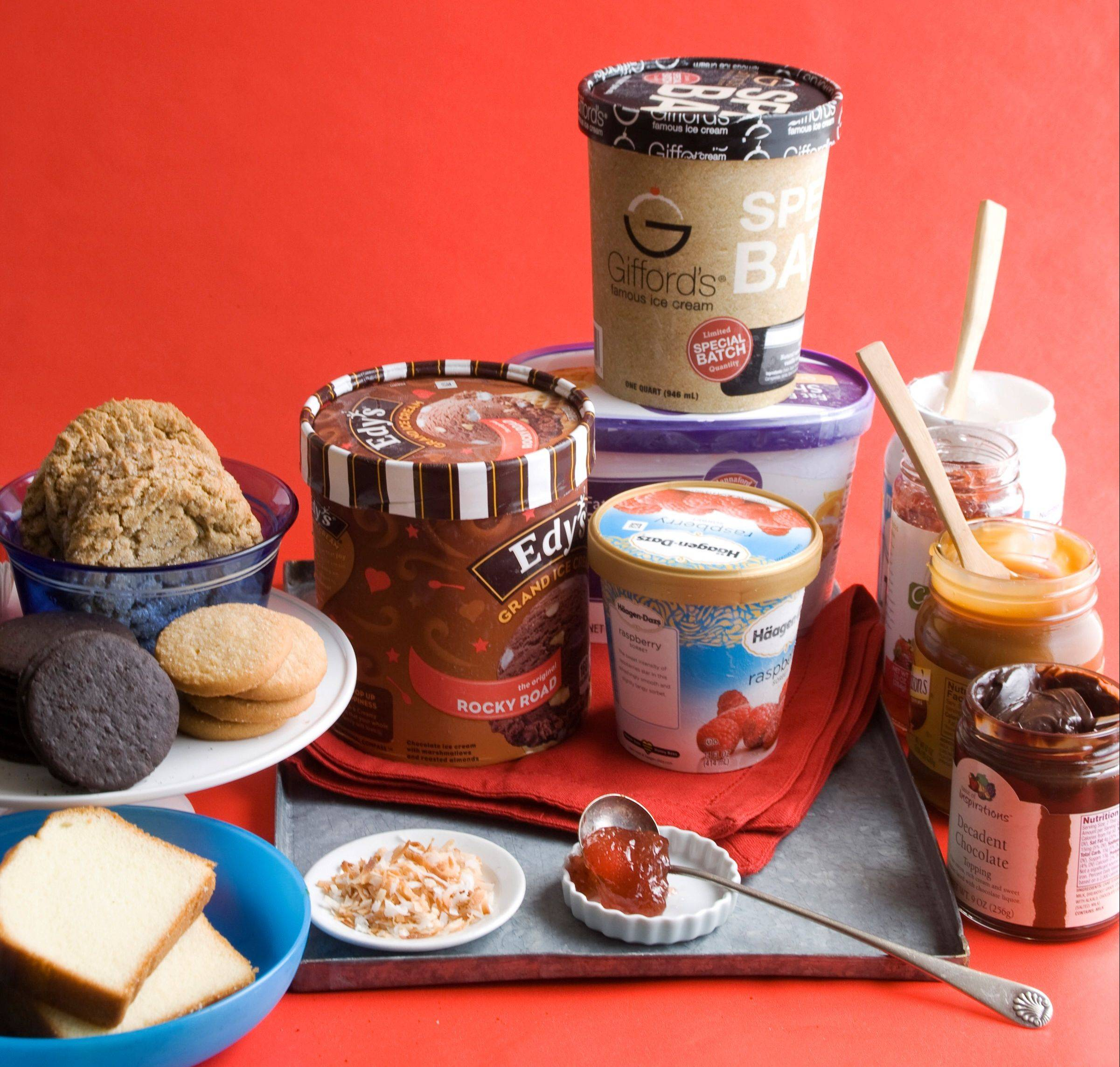 Ingredients for an ice cream sandwich buffet are all ready for any type of outdoor celebration.