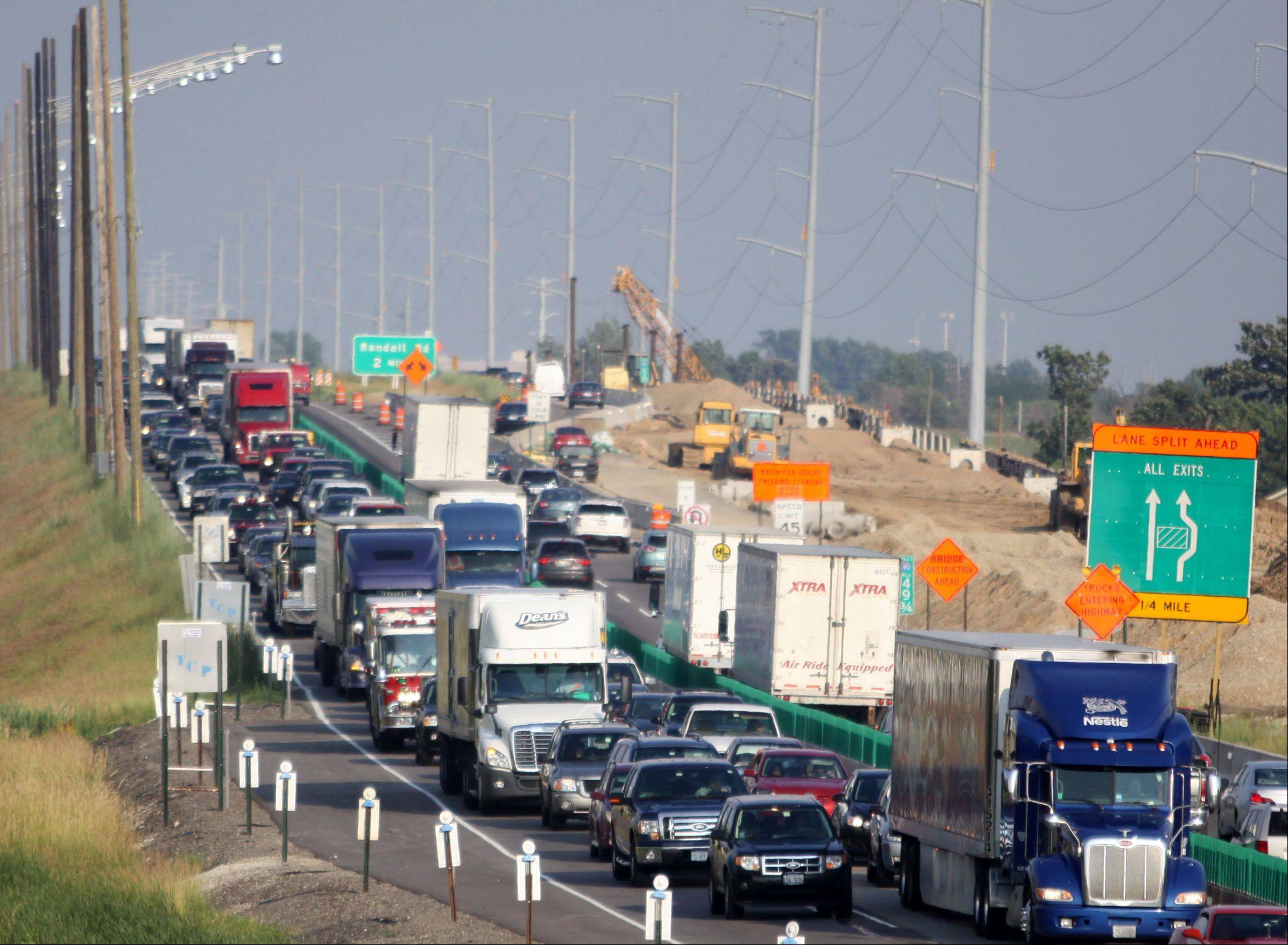 Traffic along the westbound Jane Addams Tollway near Gilberts was stopped as personnel cleared an accident at Route 72.