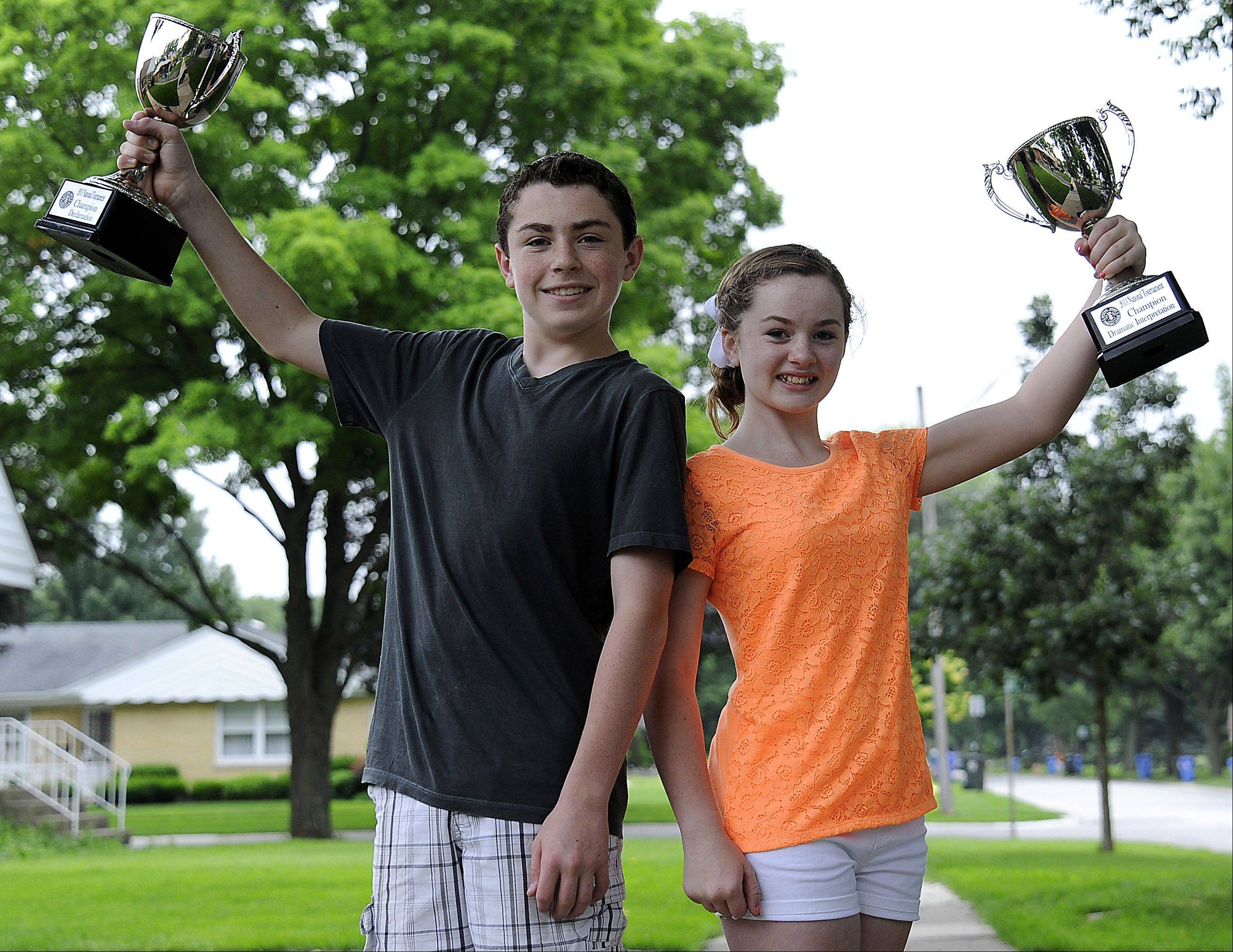 Jimmy, 14, and Molly McDermott, 13, of Mount Prospect, are looking forward to more challenging speech and debate tournaments in their futures.