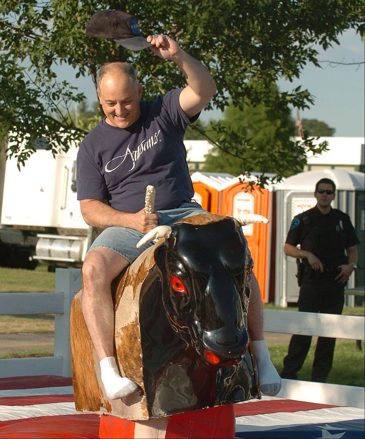 Proceeds from a mechanical bull ride at Glendale Heights Fest will help fund construction of a local food pantry.