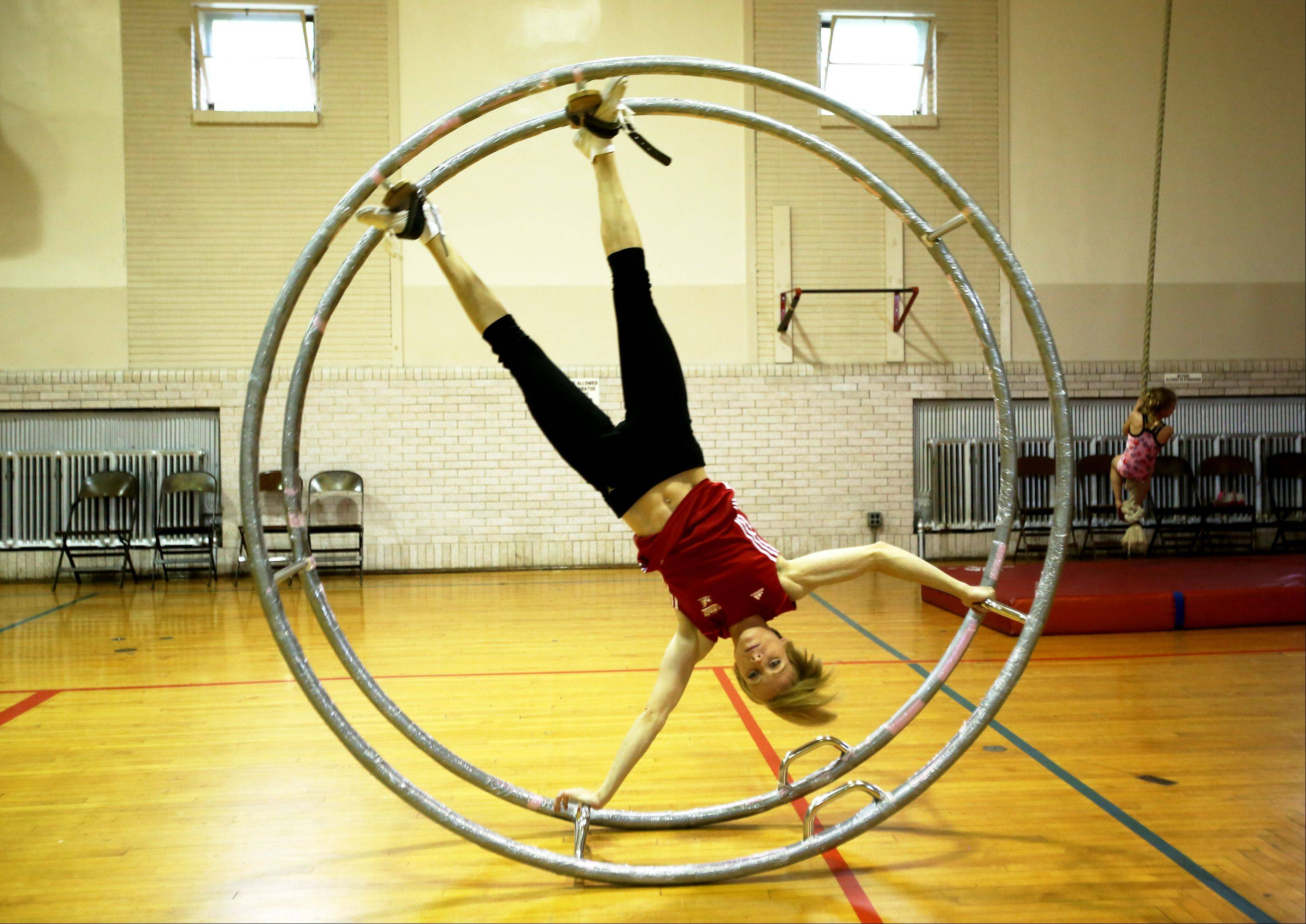 Pajer has been practicing wheel gymnastics for only three years. Above is an example of the straight line discipline of the competition.