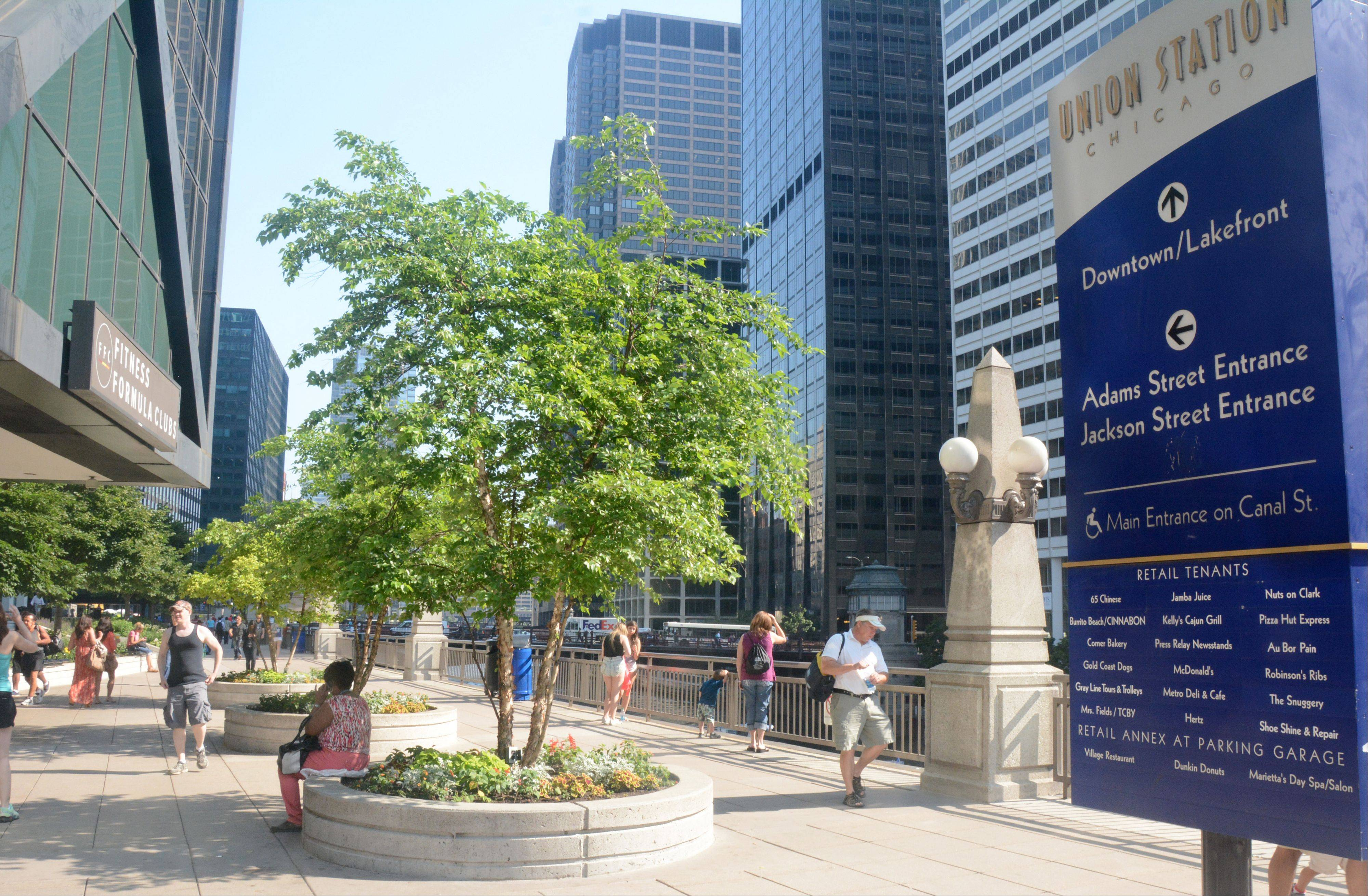 The area outside Union Station along the Chicago River is among three locations in a contest to create vibrant activity areas in Union Station.