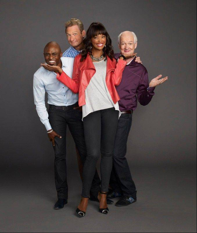 "Wayne Brady, left, Ryan Stiles, new host Aisha Tyler and Colin Mochrie revive the long-running improvisational comedy show ""Whose Line is it Anyway"" next week on The CW."