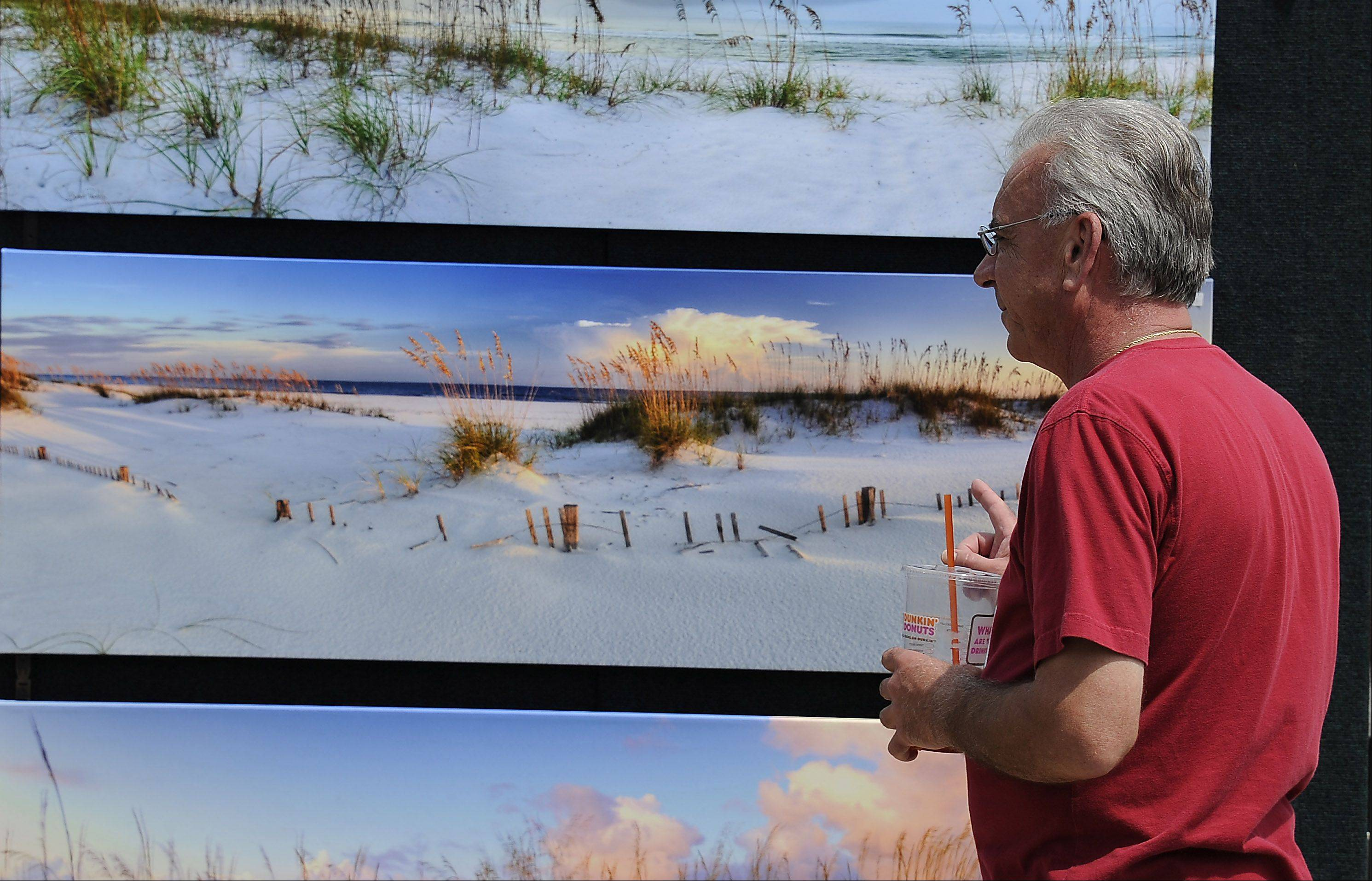 Joe Howard, of Buffalo Grove, gazes at the photography of Doug Cavanah at the 2012 festival.