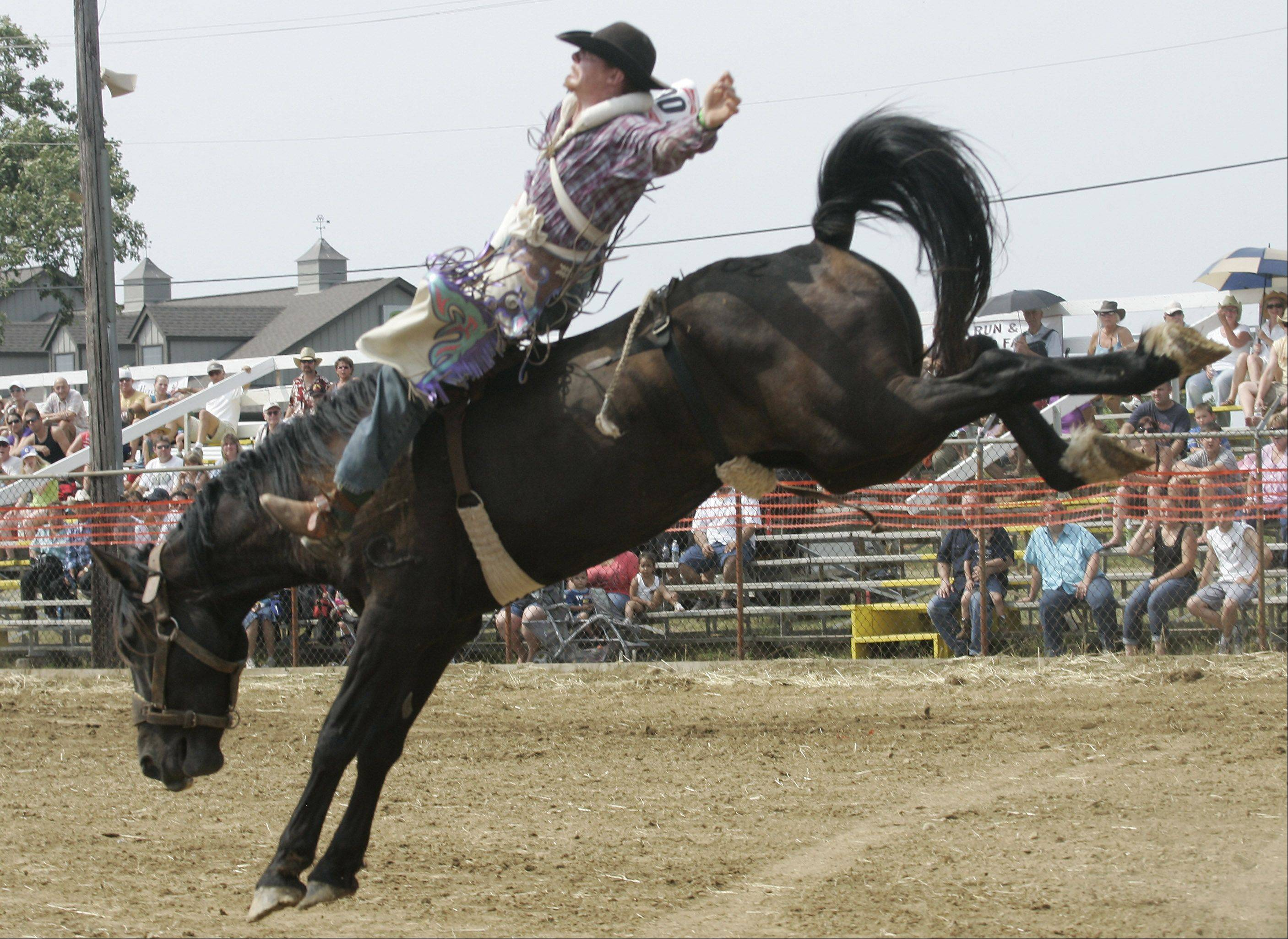 Joshua Whitaker rode Big Jake to win bronco riding during a previous edition of the IPRA Rodeo hosted by the Wauconda Chamber of Commerce at the Golden Oaks rodeo grounds.