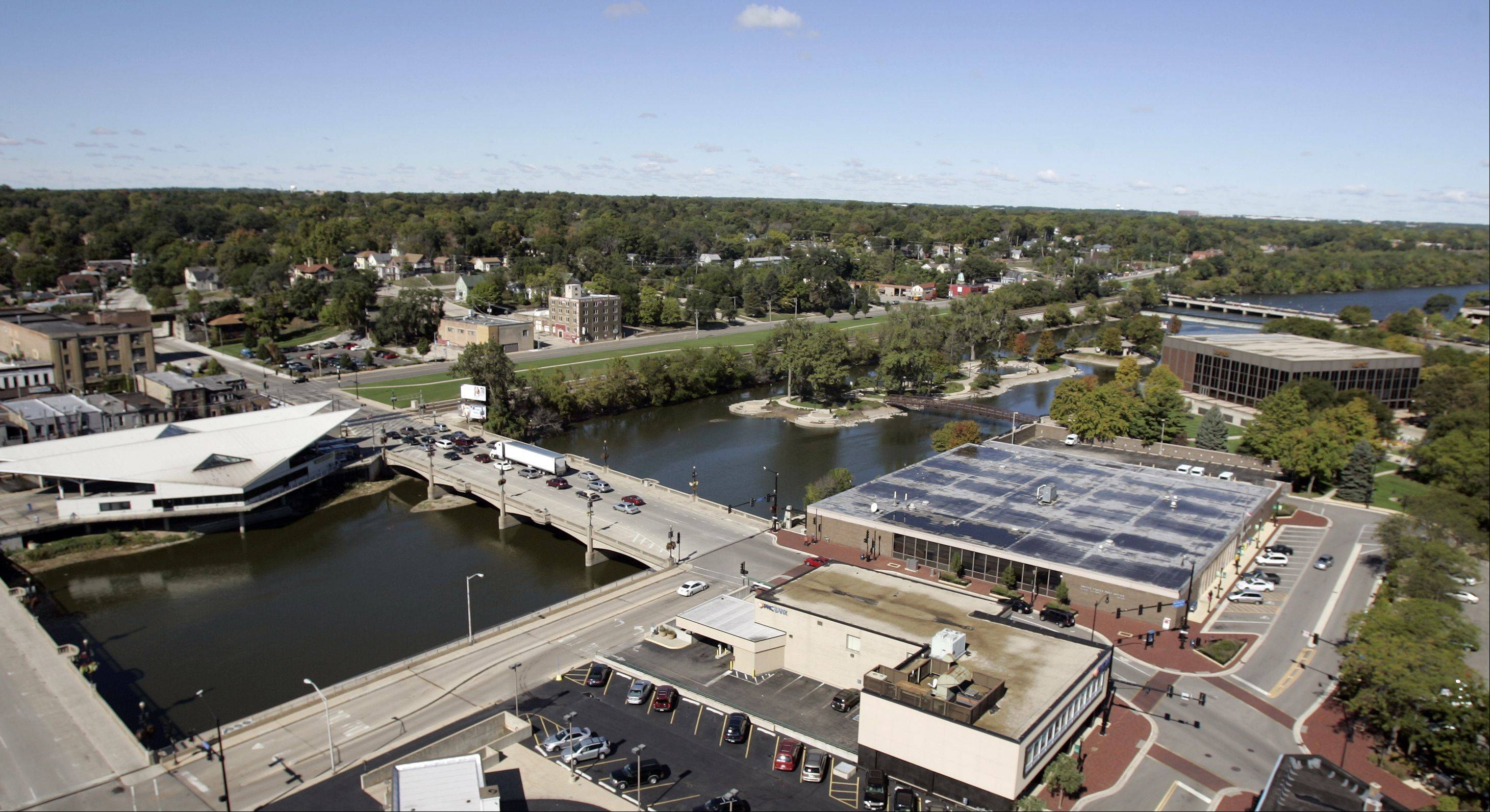 Looking north from the Tower Building in downtown Elgin, you can see the Hemmens Cultural Center on the top right, and Walton Island in the middle of the Fox River.