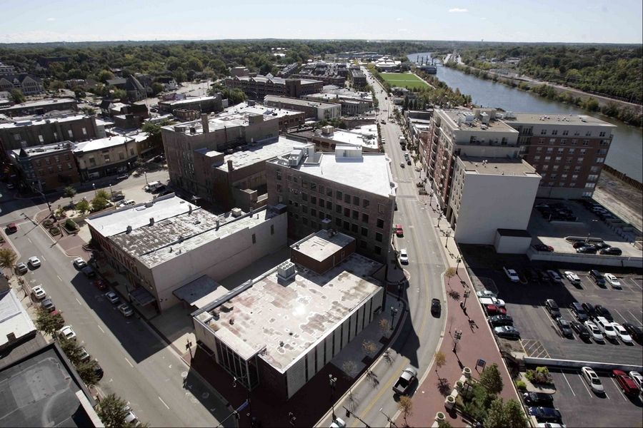 Downtown Elgin, as seen from the top of the Elgin Tower Building, has long centered on the Fox River.