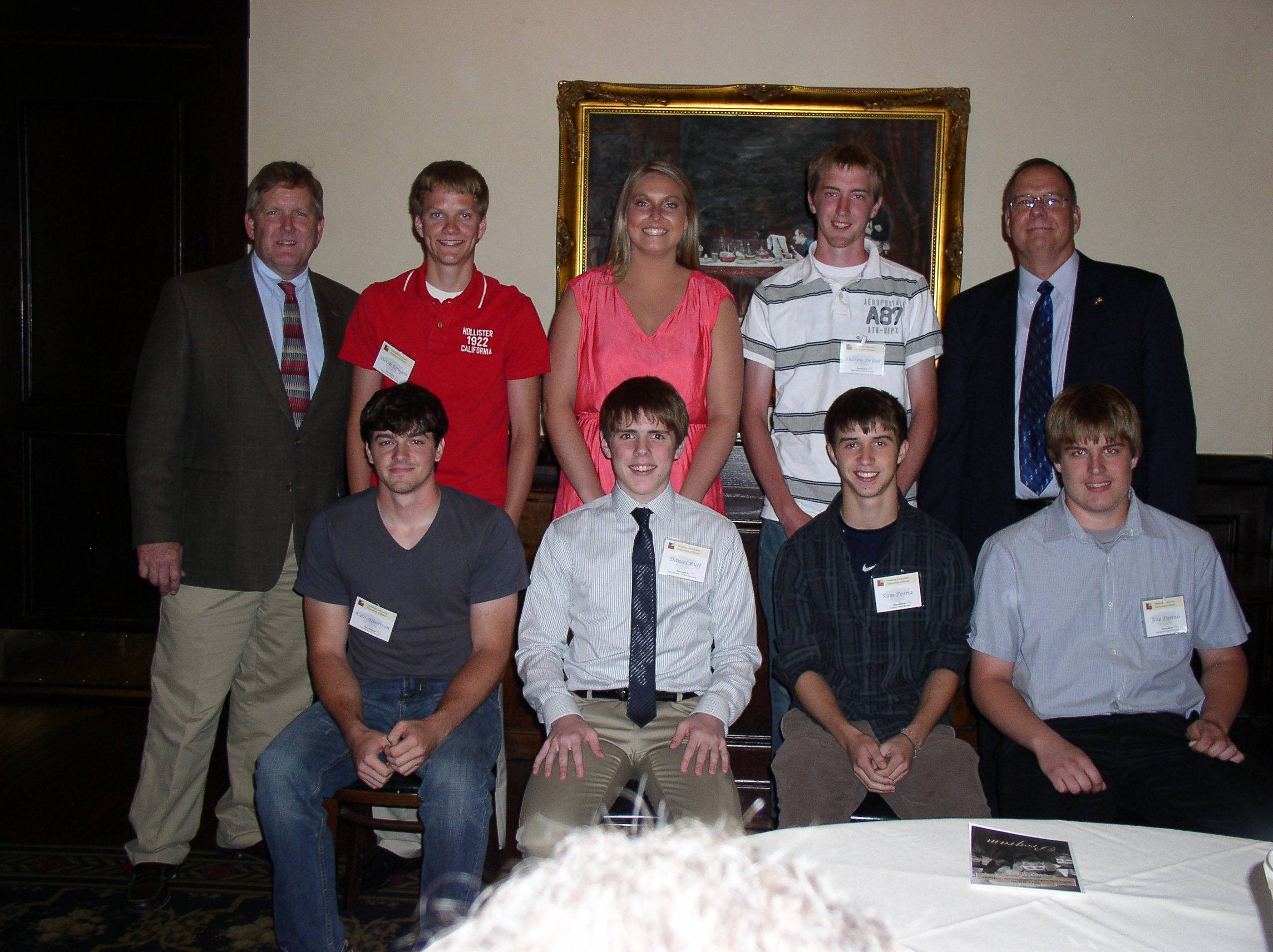 1st Row: Kyle Alberston, Metamora; Daniel Ruff, Aurora; Sam Perna, Winfield; Joie Dennis, Hampshire 2nd Row: Ken Ober (NIPDI Chairman), Derek Dragoo, Peoria; Paige Meyers, Spring Grove; Andrew DeBolt, Plano; and Mark Palmer (NiPDi CEO) Not Pictured: Gabriele Dokianos and Maxwell Counihan