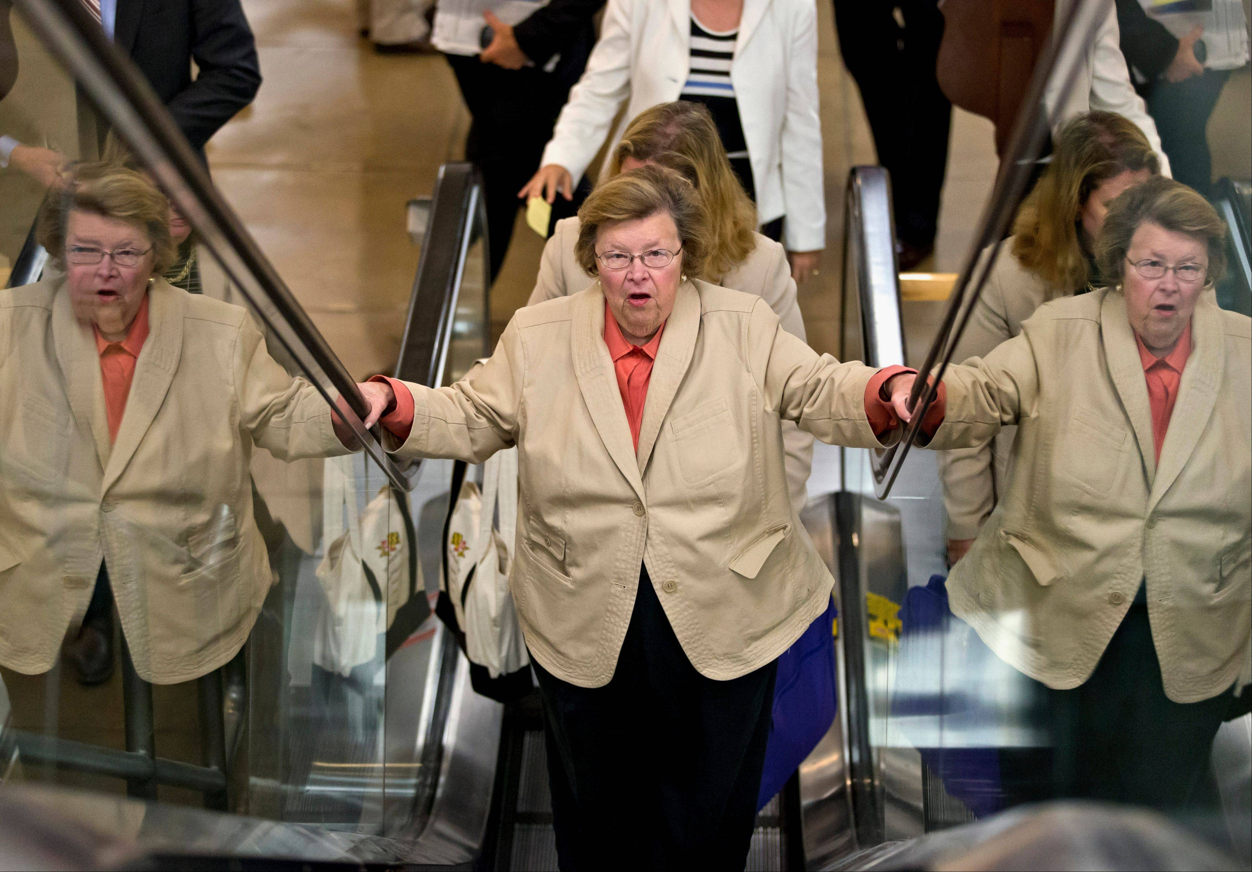 Senate Appropriations Committee Chair Sen. Barbara Mikulski, a Maryland Democrat, rides an escalator in the Capitol Wednesday, as senators rushed to the floor for a vote to end debate on the Democrats� plan to restore lower interest rates on student loans. Lawmakers failed to muster the necessary 60 votes to overcome a procedural hurdle.