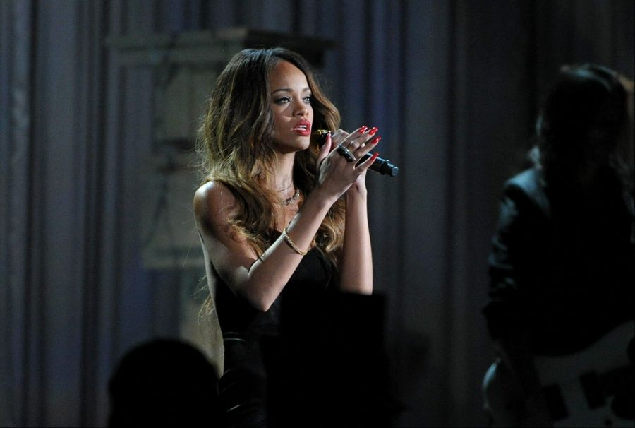 Singer Rihanna, seen here during the Grammy Awards, has sent Barrington Unit District 220 a $5,000 check to offset the school's expenses from her March 22 show at Barrington High.