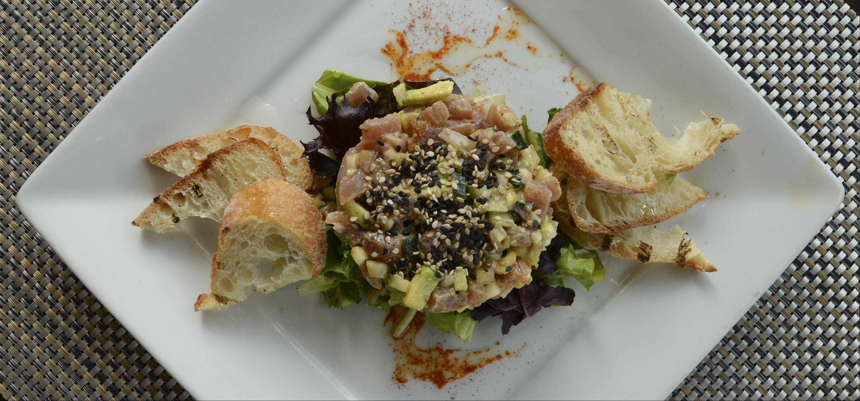 Tuna tartar is a nice way to start a meal at Paris Bistro in Naperville.