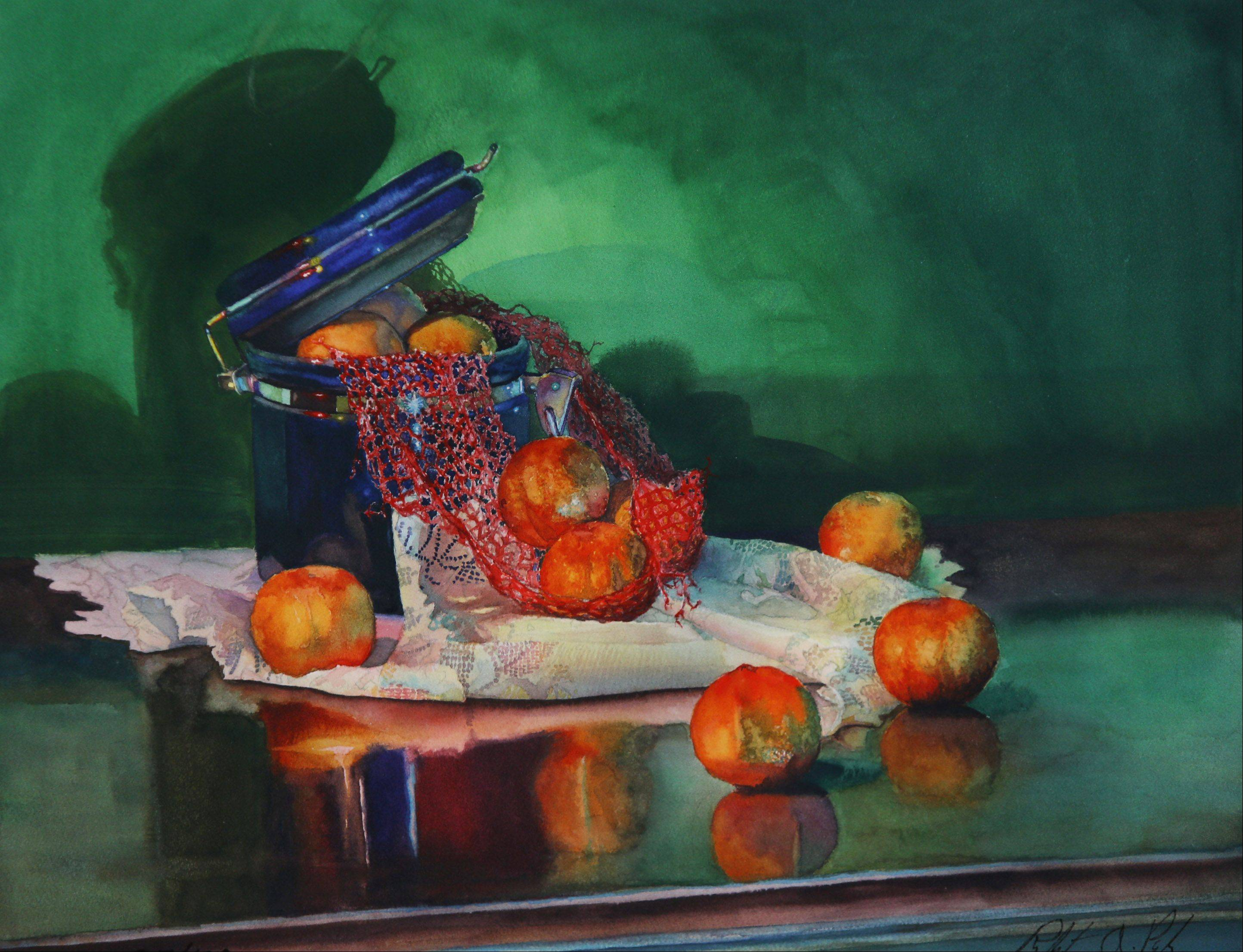 "Watercolor by Mundelein artist Robert A. Pioch titled ""From the Blues to Orange"" during his show of watercolor artwork called ""New Beginnings"" at the Dandelion Gallery in Waukegan."