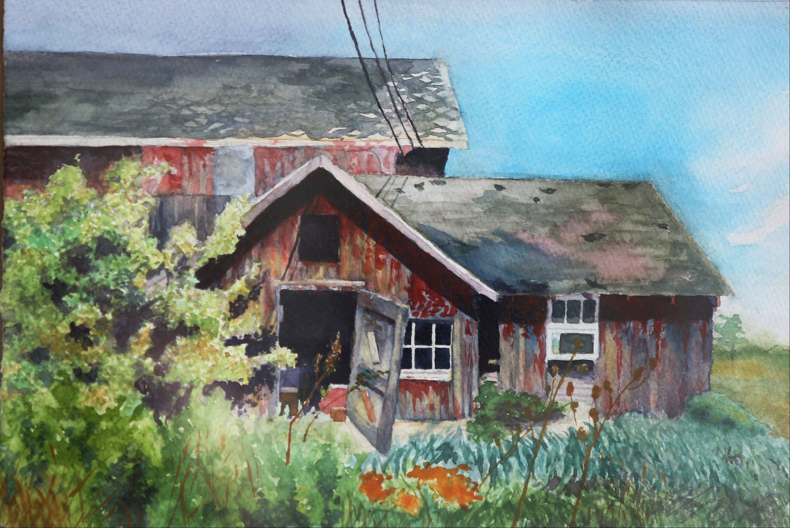 "Watercolor by Mundelein artist Robert A. Pioch titled ""The Barn That Once Was."""