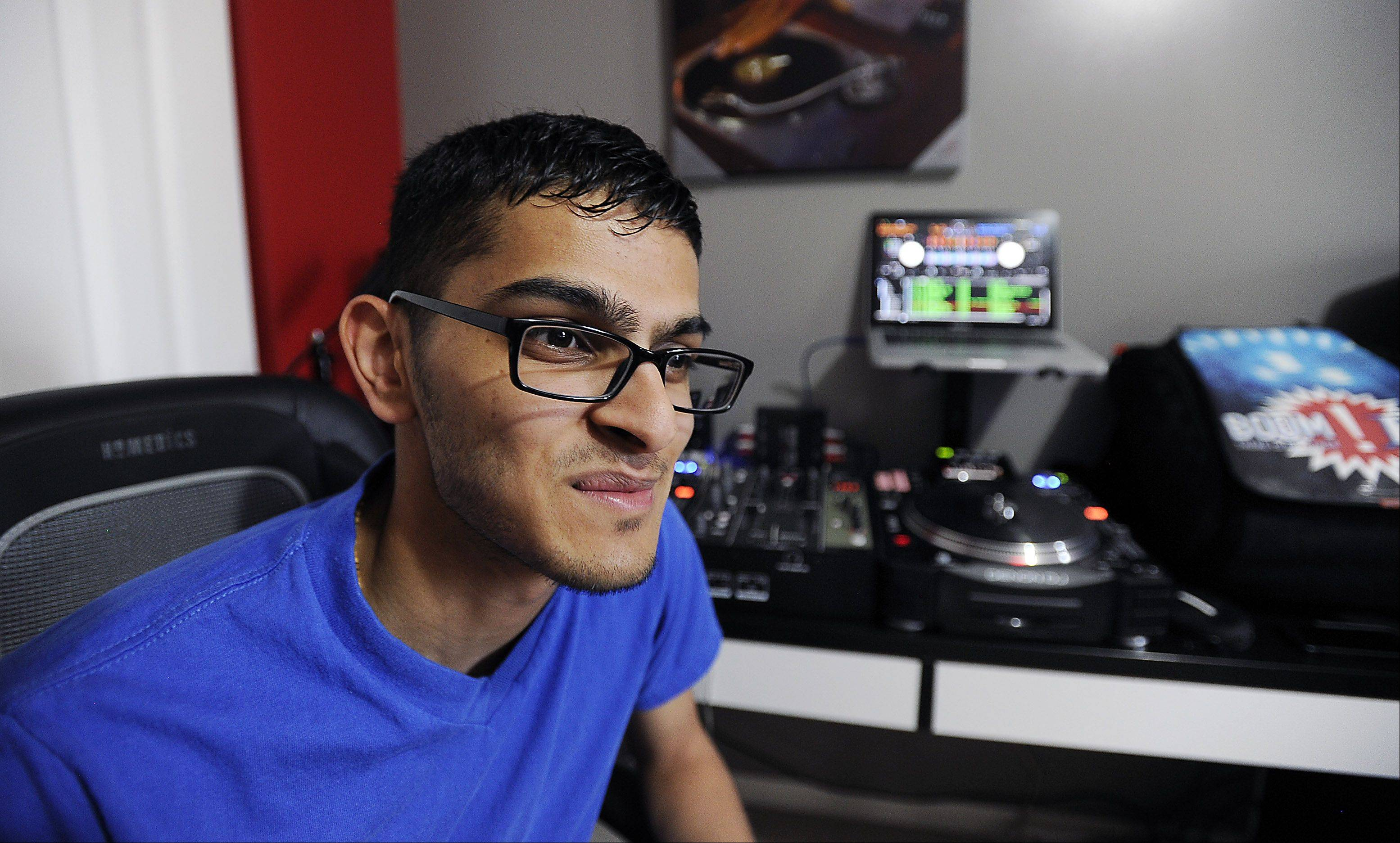 Schaumburg native Sahaj Shah, 21, aka DJ Mr. Shaw, talks about his passion for being a DJ while practicing in his studio/bedroom. His craft requires him to be part-musician, part-engineer and part-street performer.