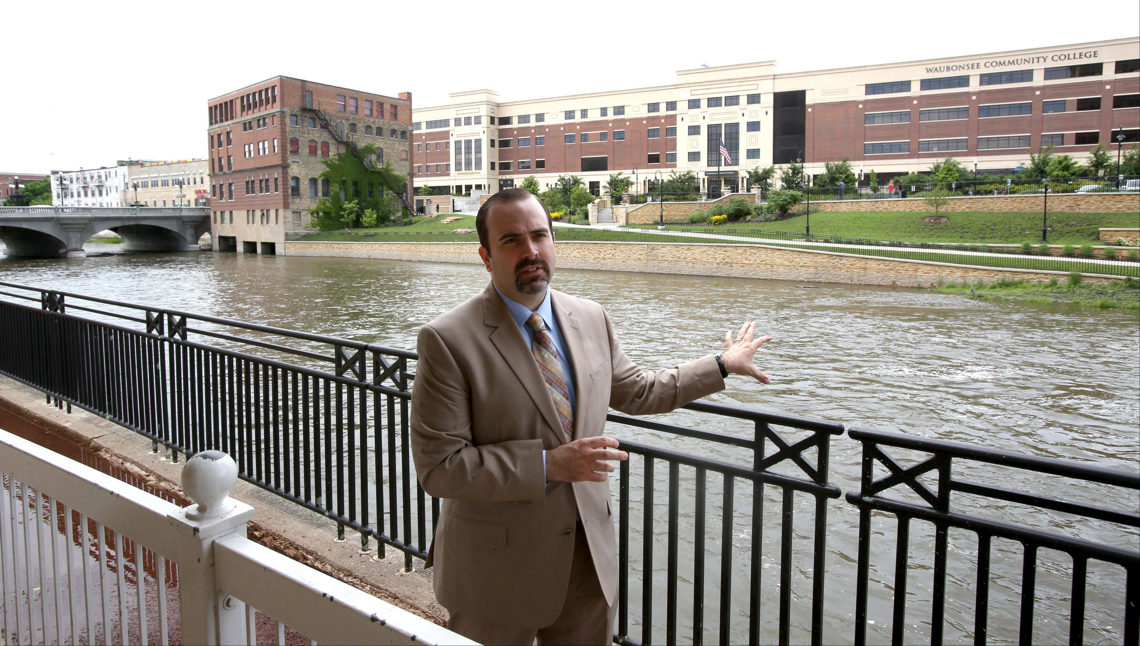 Jeff Noblitt, president of Aurora Downtown and spokesman for Waubonsee Community College, says the college's new $50 million campus and RiverEdge Park top a list of projects reshaping land use along the Fox River through the city's commercial center.