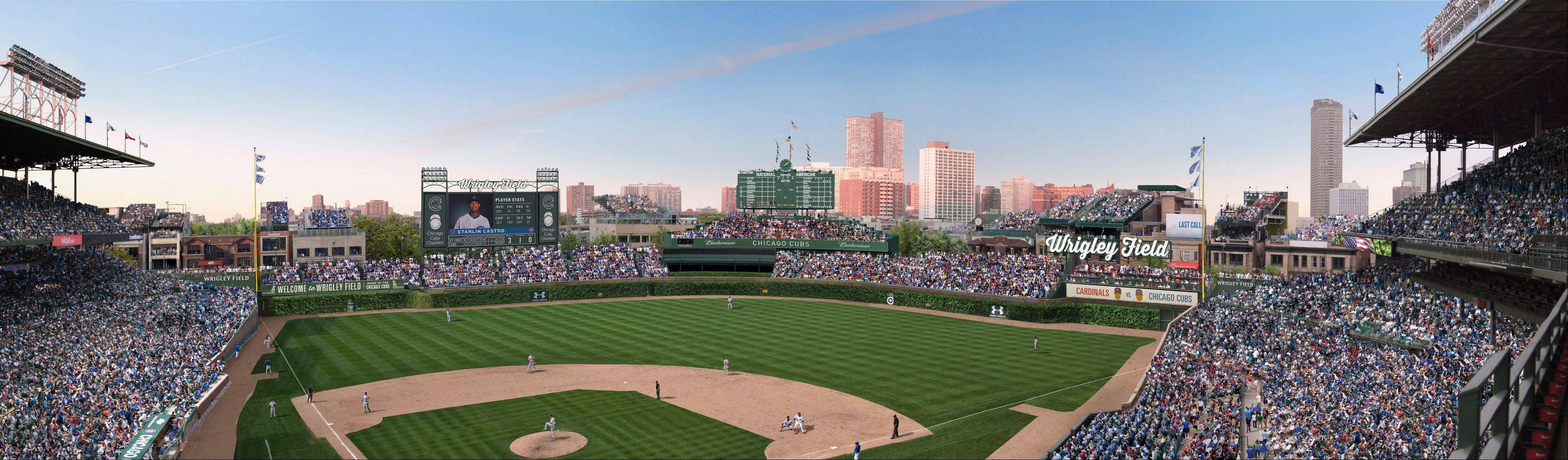 An artist rendering provided showing planned renovations at Wrigley Field. The Cubs said that have reached an agreement with the city that would allow the team to build a Jumbotron in left field while adding another sign in right field.