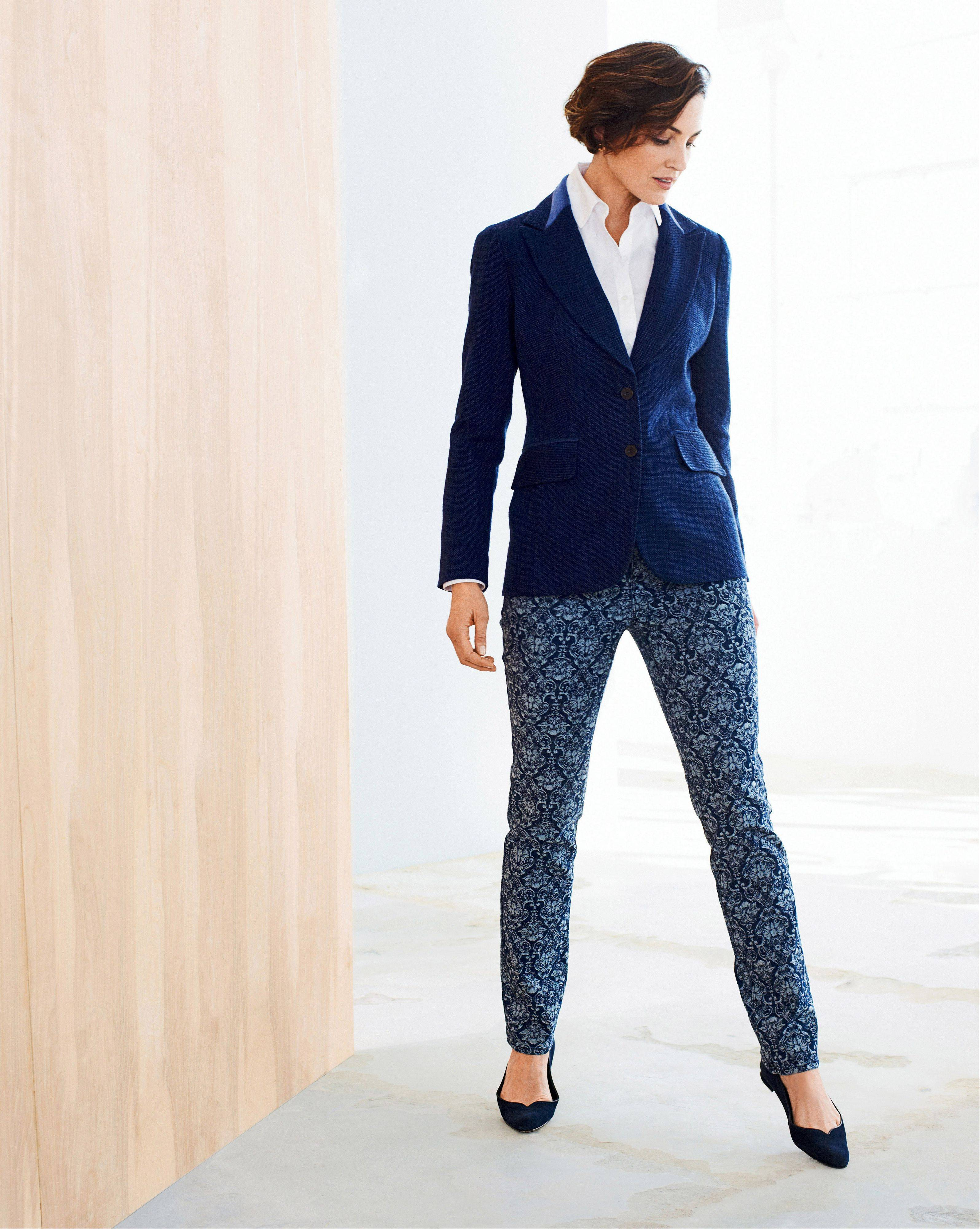 A model wears a No-iron Perfect Shirt plus Atlantic Tweed jacket and indigo jacquard slim leg jeans. Celebrity stylist Cristina Ehrlich, a style adviser to Coldwater Creek, says layers are the way to go as long as the overall look is relaxed look without being sloppy.