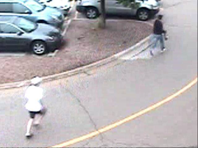 Blurry camera footage shows the woman's rescuer chasing the robber with the purse through the parking lot.