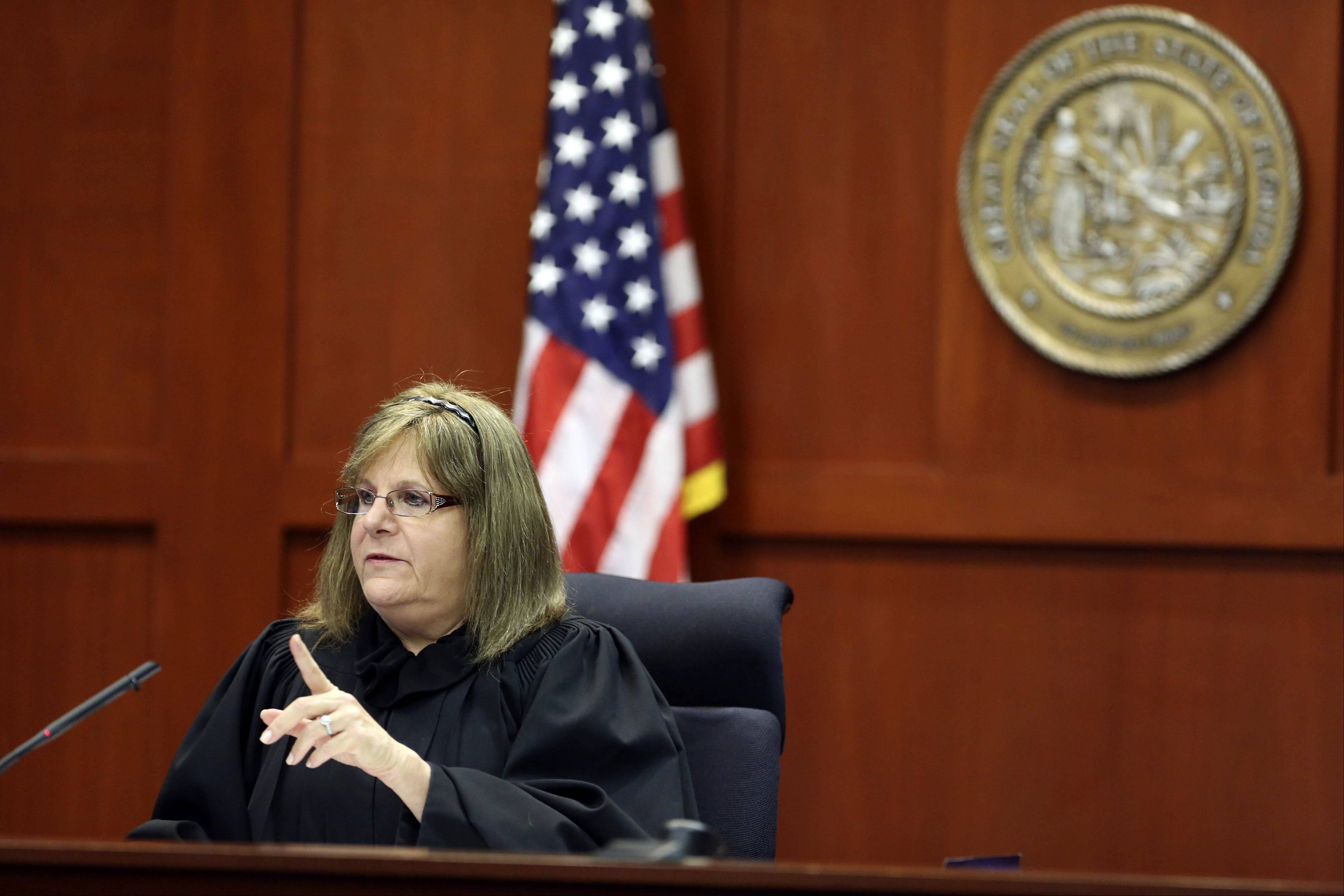 Judge Debra Nelson gives instructions to attorneys during George Zimmerman's trial in Seminole circuit court in Sanford, Fla. Thursday. Zimmerman has been charged with second-degree murder for the 2012 shooting death of Trayvon Martin.