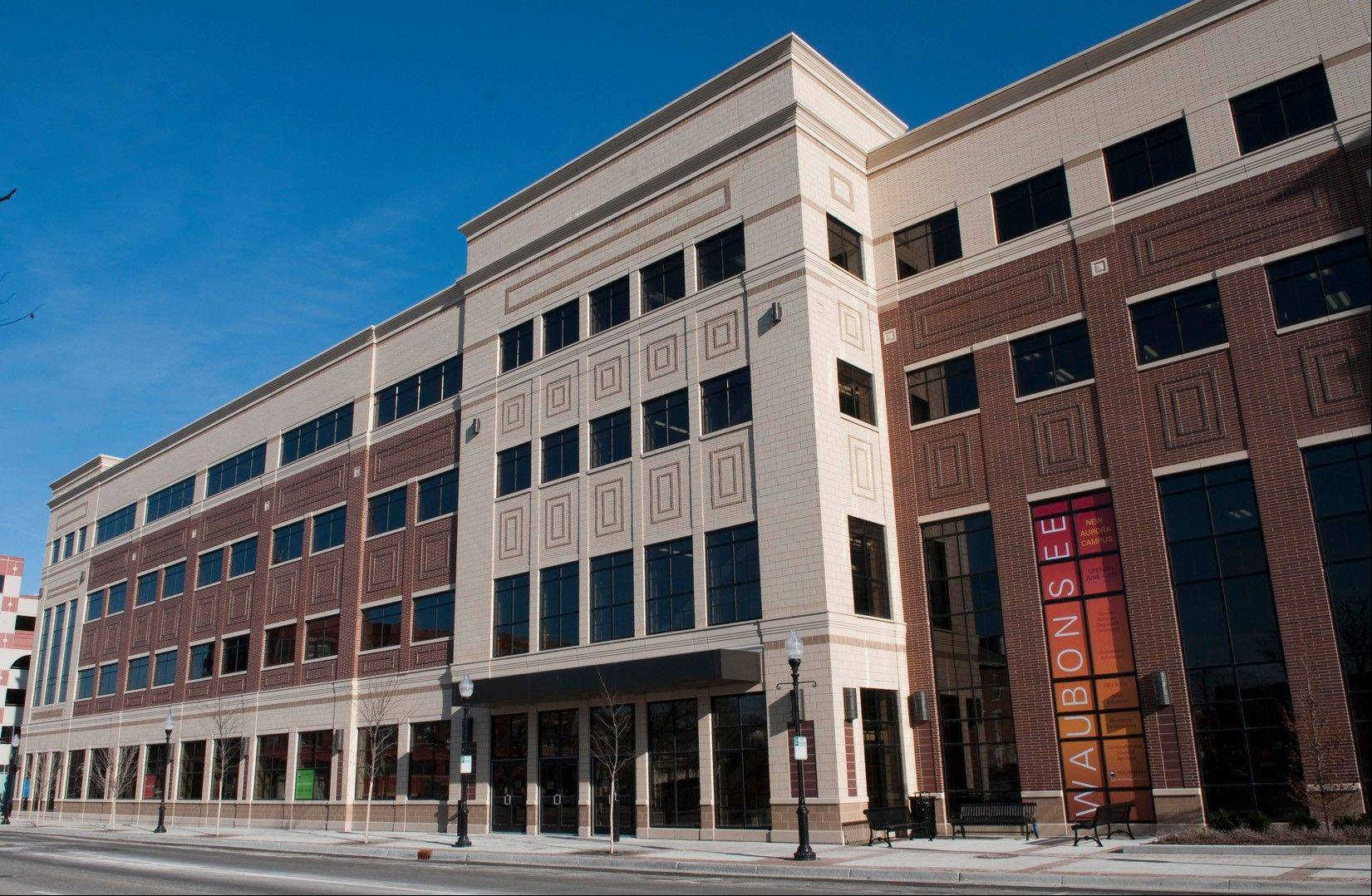 The $50 million Waubonsee Community College in downtown Aurora opened in 2011 featuring an upper and a lower riverwalk on the Fox River and green features like rain gardens to protect the water's quality. Taking up an entire city block, the 132,000-square-foot building is one of a list of downtown Aurora projects revitalizing the riverfront.
