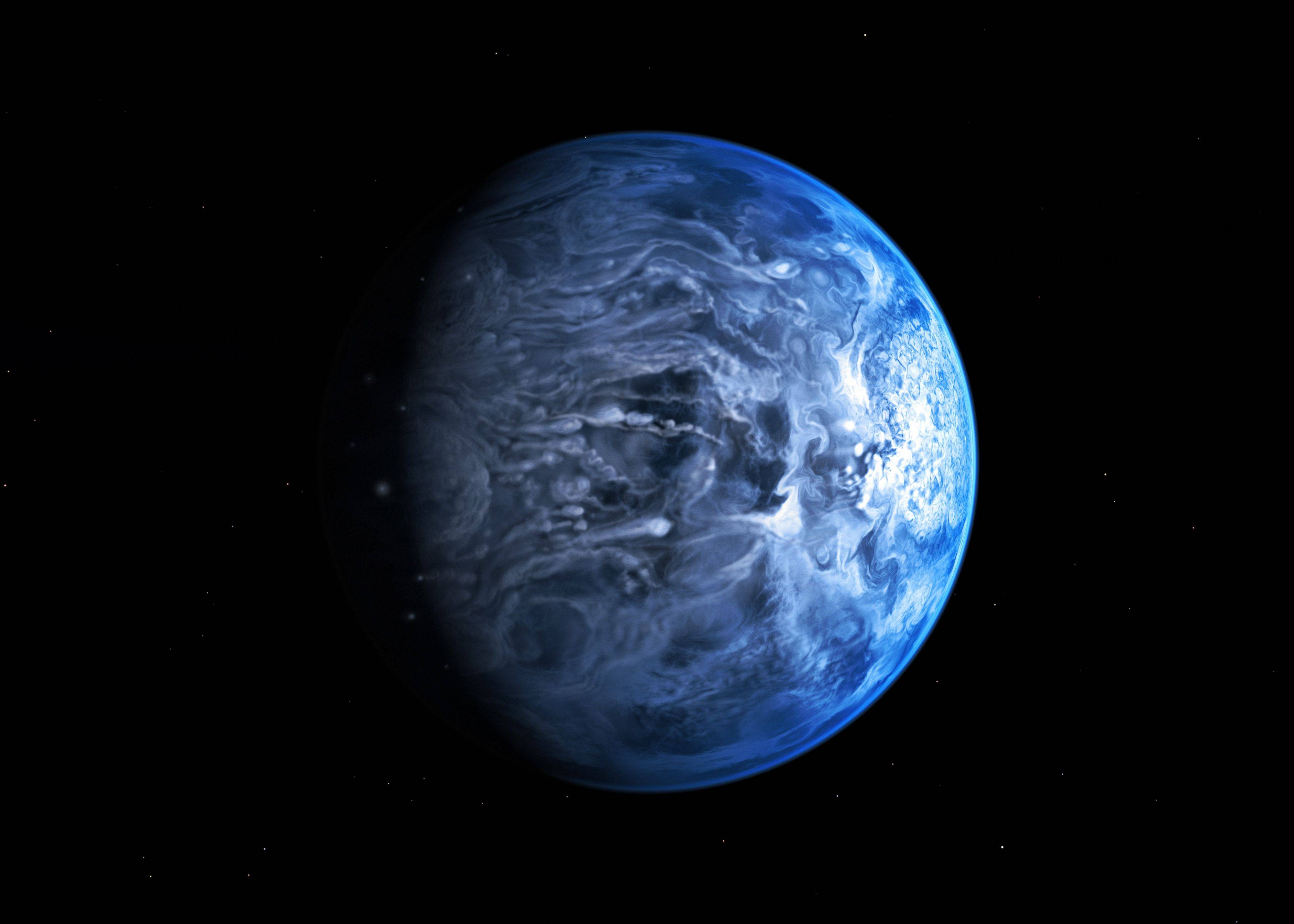 An artist�s impression of one of Earth�s nearest planets outside the solar system, named HD 189733B. Astronomers said Friday that for the first time they had gained an understanding of HD 189733B, which is around 63 light years away, by discovering the huge gas giant�s blue color.