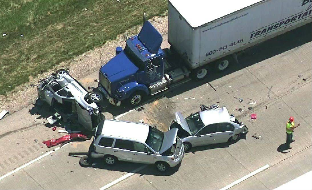 This is an aerial view shows the aftermath of a six-vehicle accident on I-94 in Gurnee Friday morning that sent 16 people to the hospital.