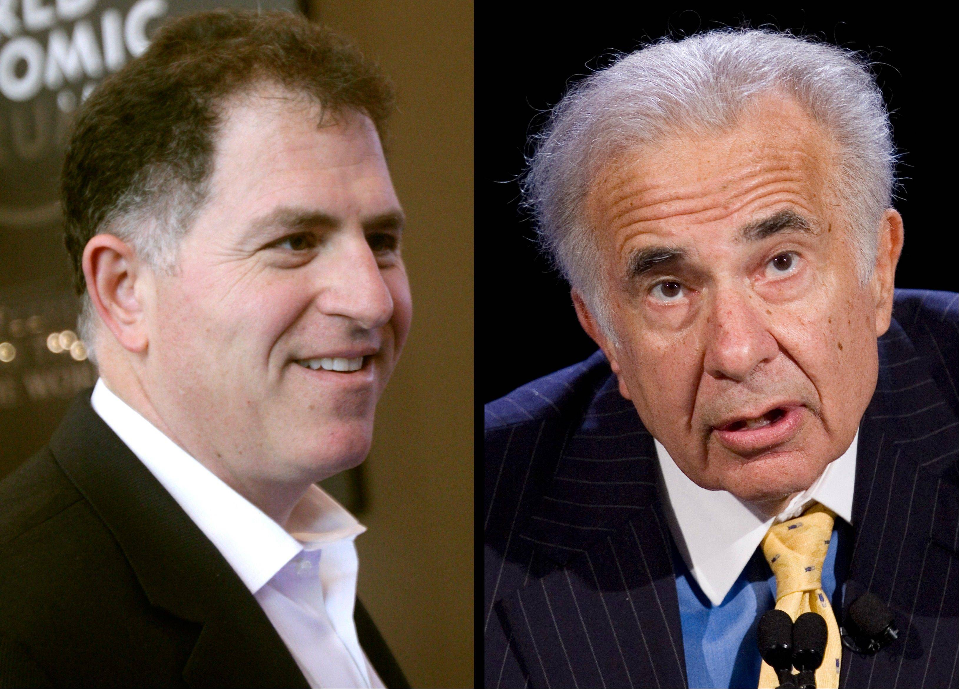 Billionaire investor Carl Icahn, right, is offering Dell shareholders a chance to own a bigger stake in the company in hopes of thwarting an attempt by Dell founder Michael Dell, left, to buy it and take it private.