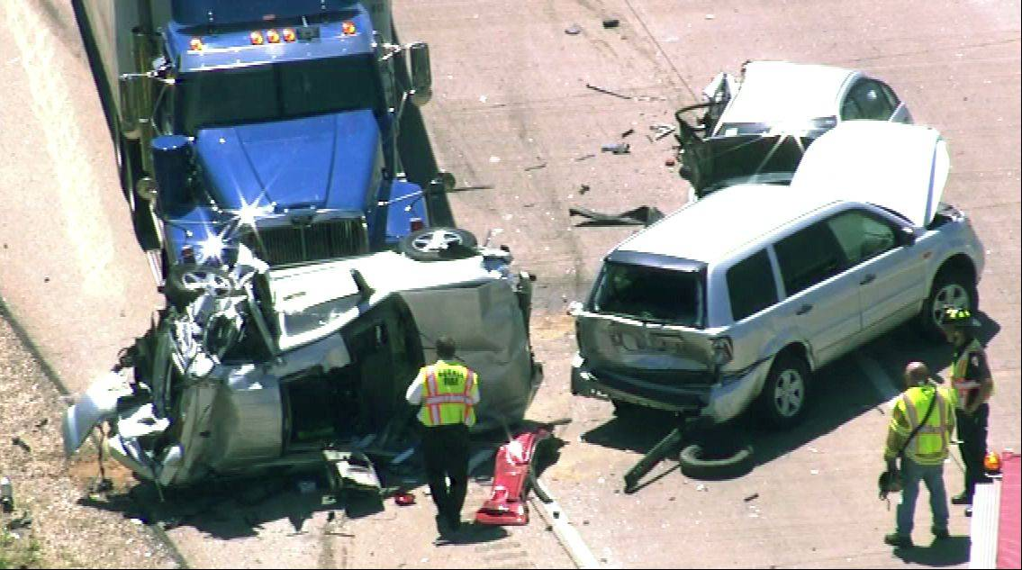 This is an aerial view of a six-vehicle accident on I-94 in Gurnee Friday morning that sent 16 people to the hospital.