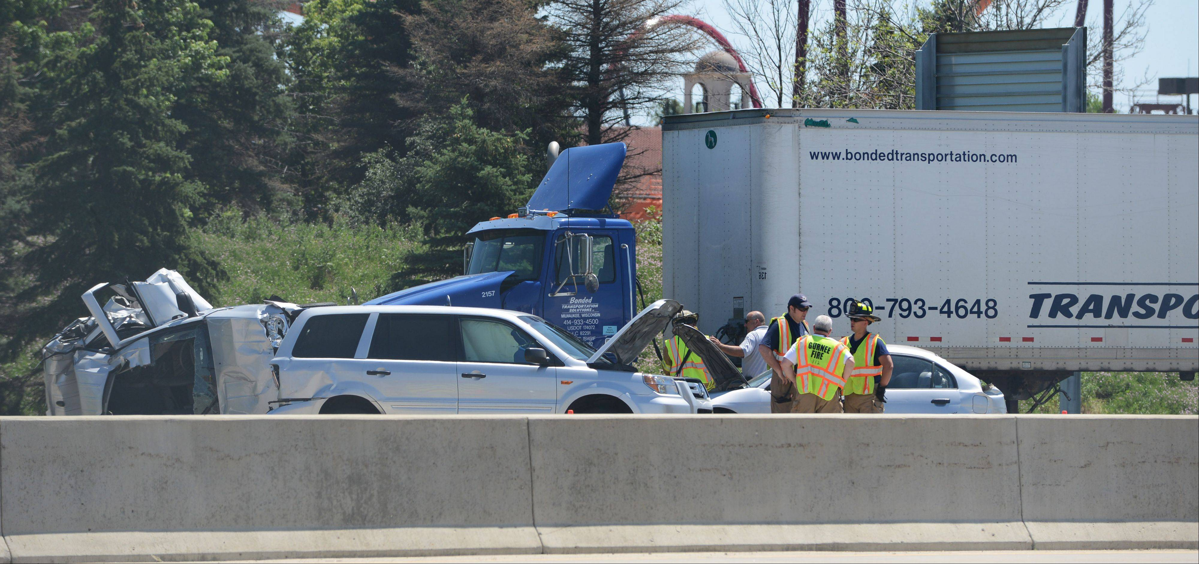 Multiple ambulances were called to a six-vehicle crash Friday morning in the northbound lanes of I-94 just south of Grand Avenue in Gurnee.