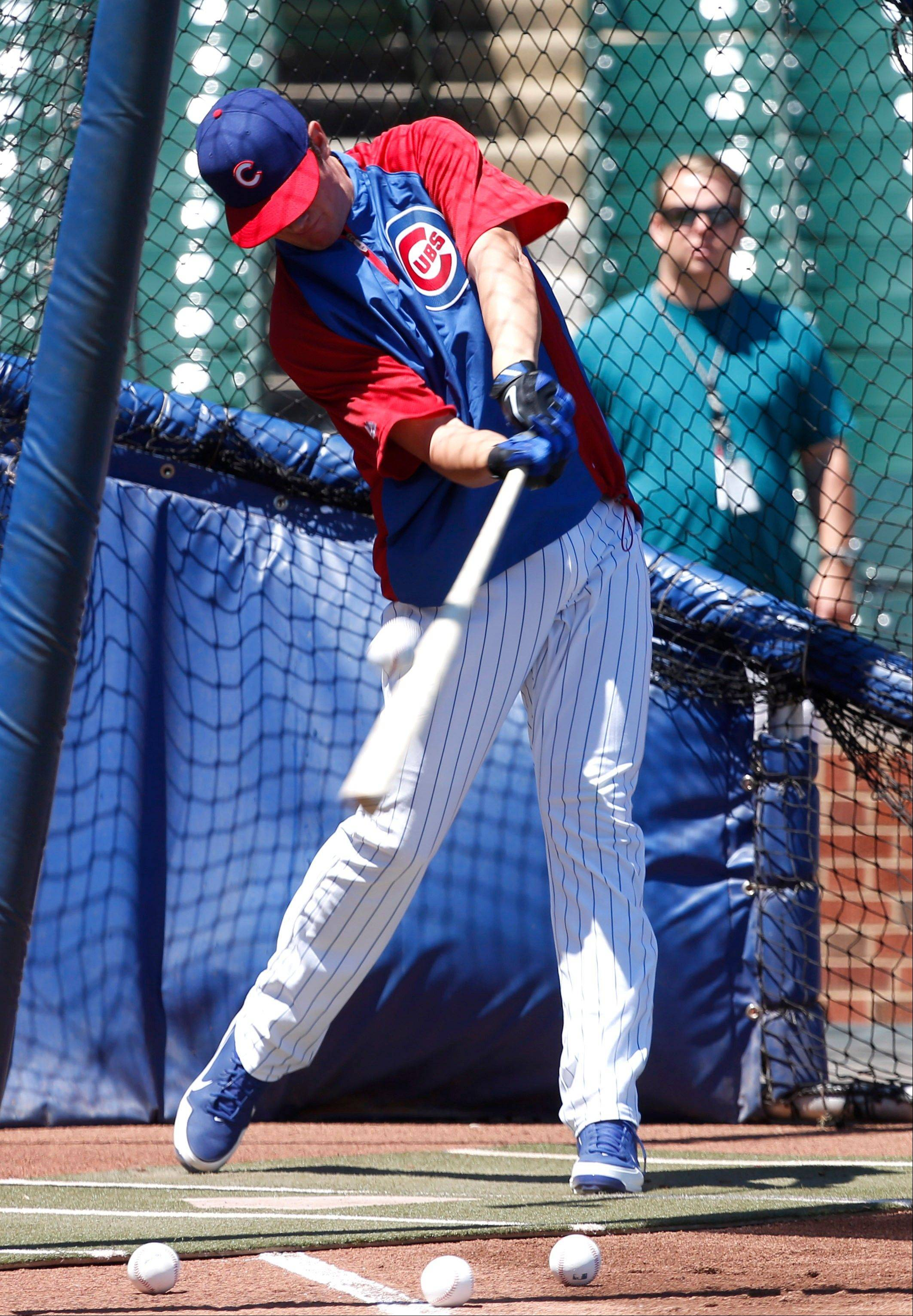 Kris Bryant takes batting practice before the Cubs played St. Louis at Wrigley Field.