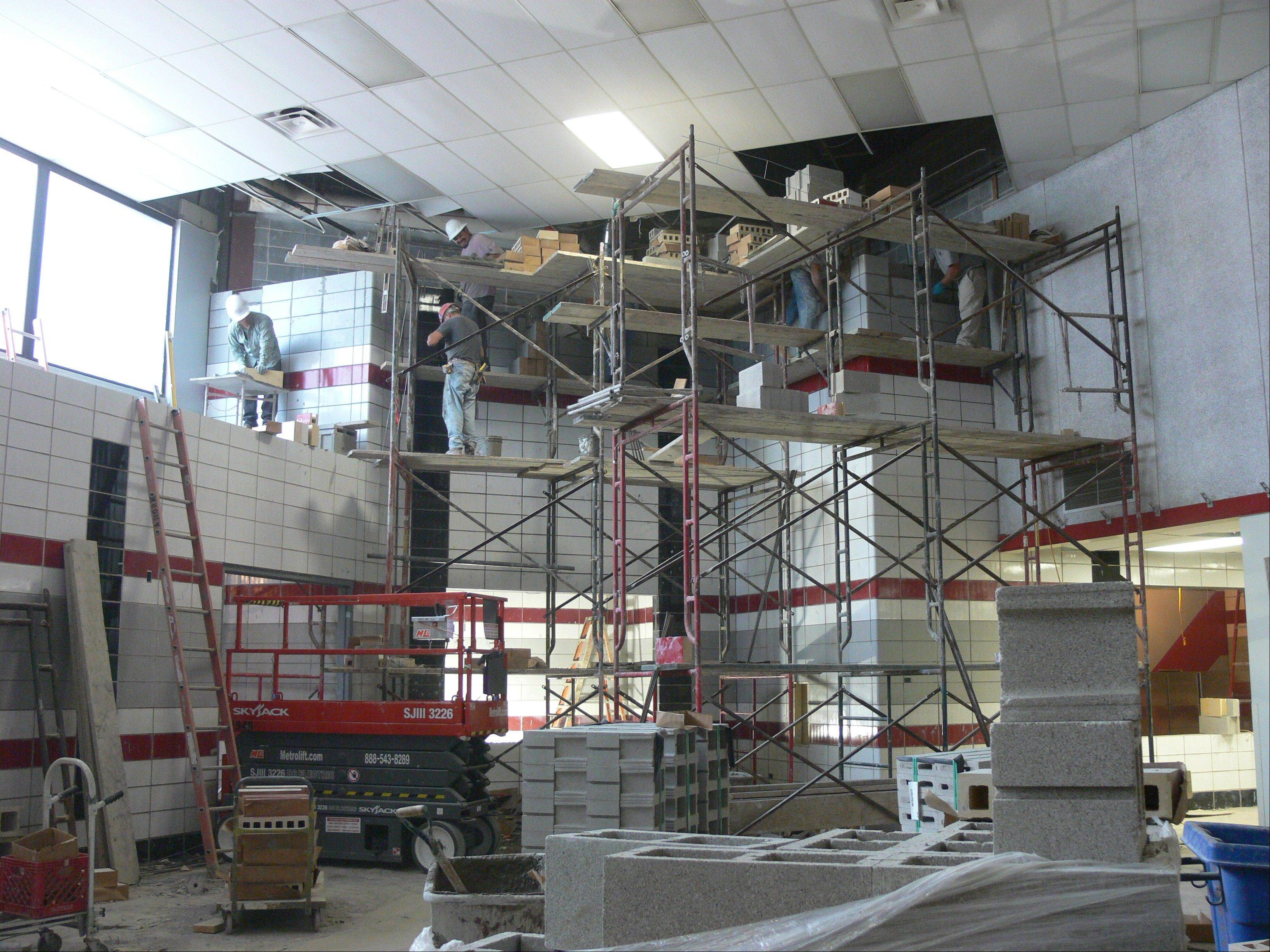 Work is being done near Palatine High School's new lunch and kitchen area, which has not been updated since the school opened in the late 1970s. Improving the layout and functionality for students and staff is a top priority.