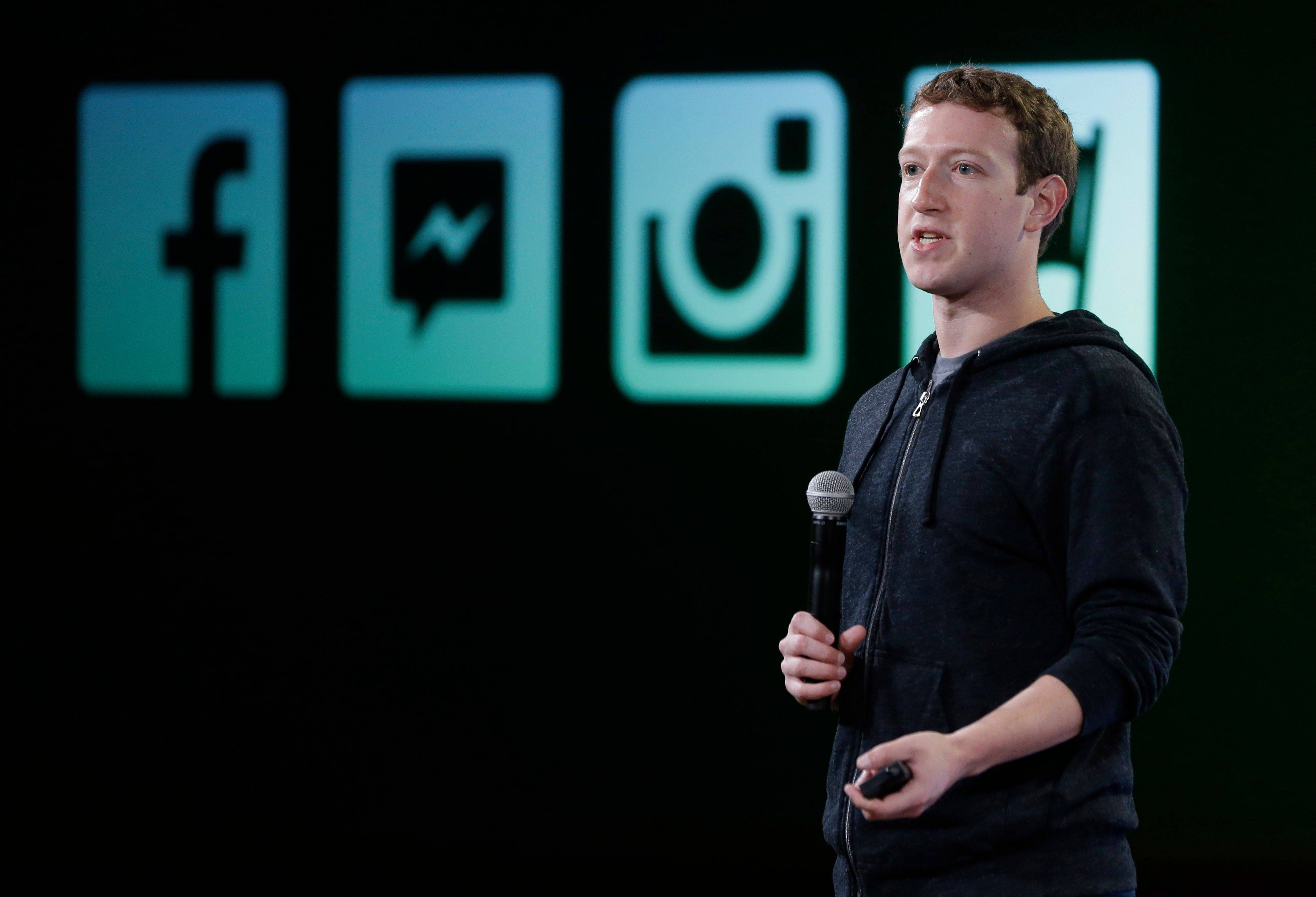 Facebook CEO Mark Zuckerberg talks about Instagram's new video feature at the company's headquarters in Menlo Park, Calif.