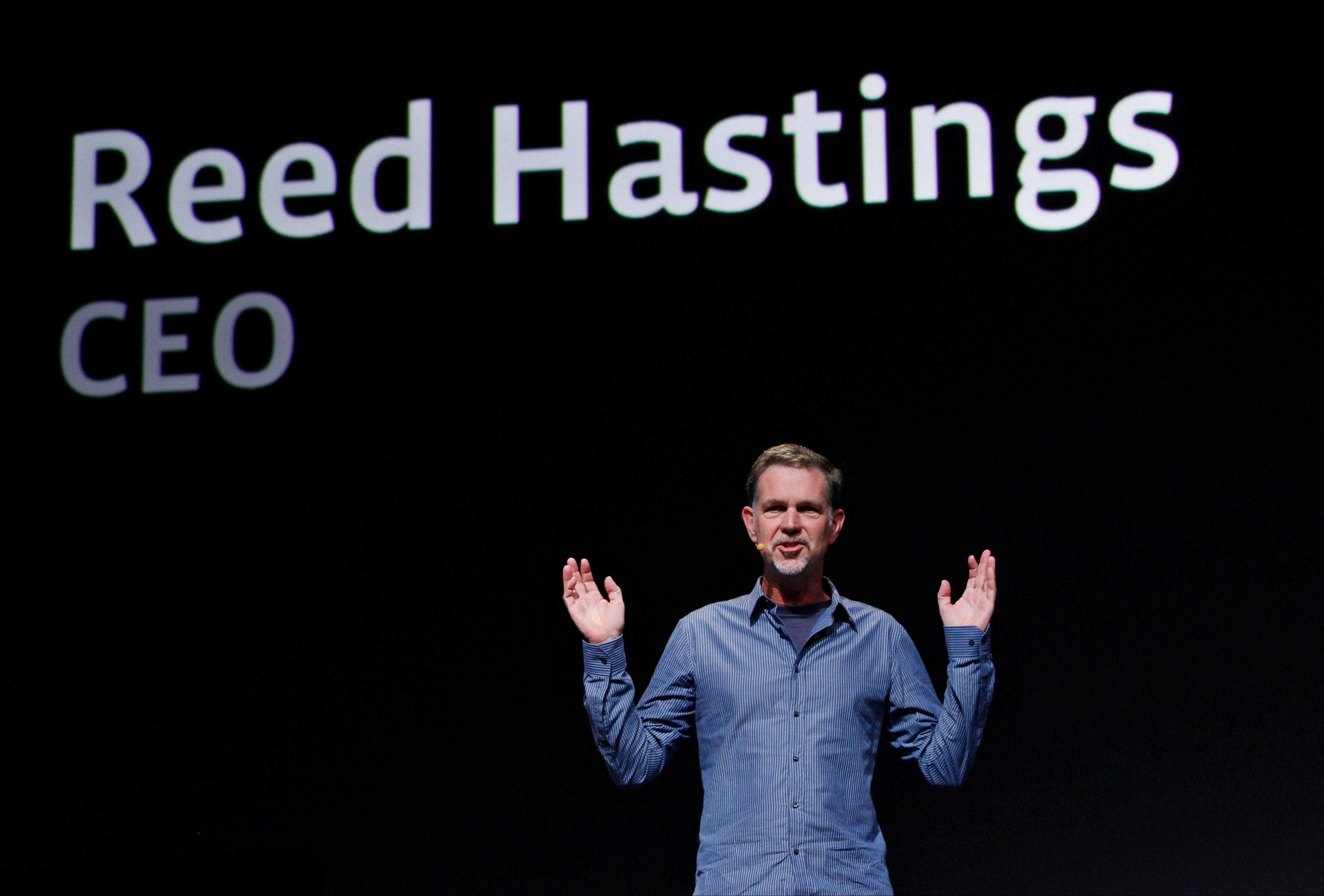 In this Sept. 22, 2011 file photo, Netflix CEO Reed Hastings gestures during the Facebook f/8 conference in San Francisco. He will host a video chat discussing the company�s quarterly results on July 22, 2013.
