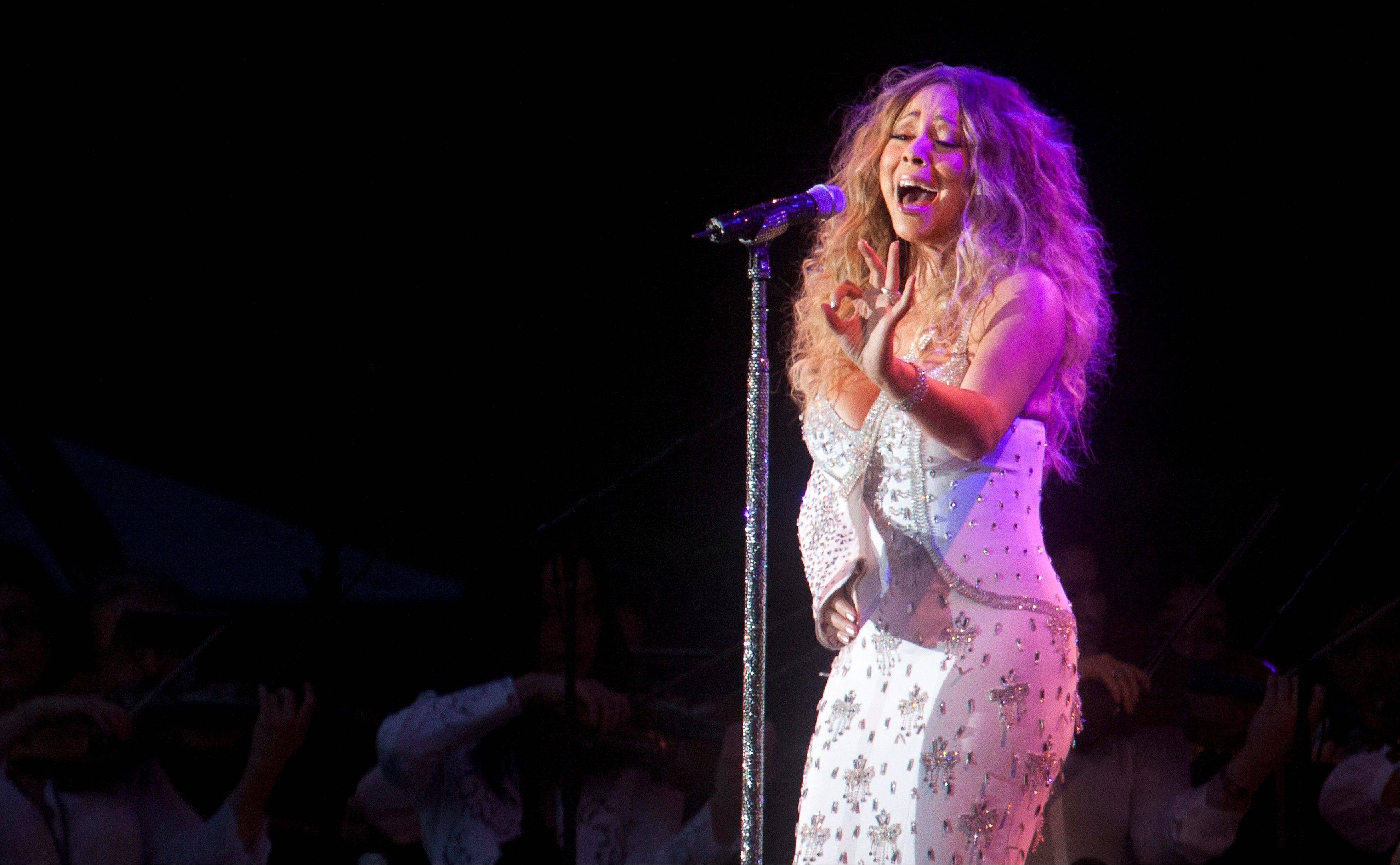 Mariah Carey performs in Central Park during the All-Star Charity Concert to benefit Hurricane Sandy victims on Saturday in New York.
